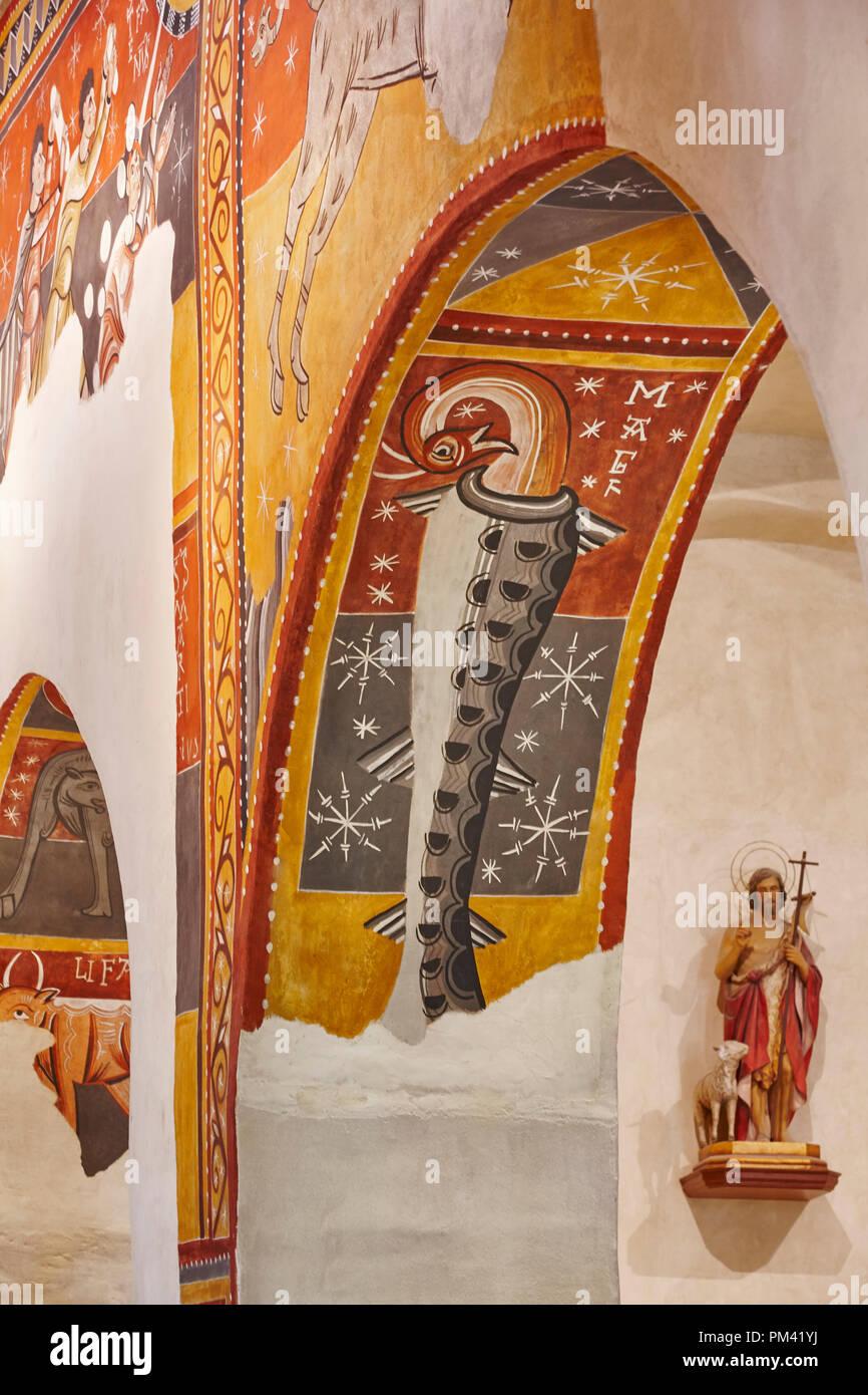 Spanish romanesque art. Sant Joan Boi church. Arch detail. Catalonia - Stock Image