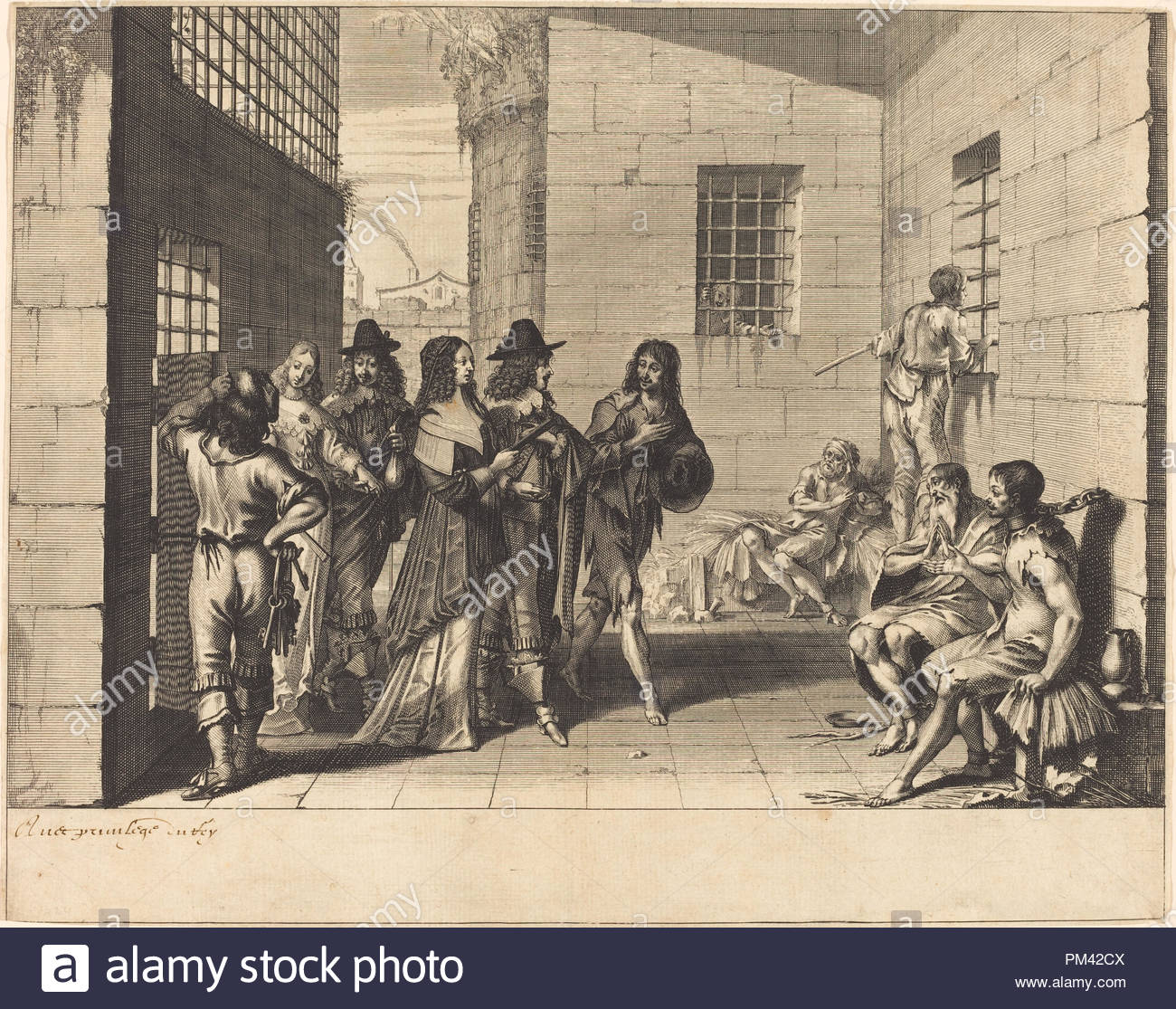 Gentry Visiting a Prison. Dimensions: sheet (trimmed to plate mark): 25.4 x 32.2 cm (10 x 12 11/16 in.). Medium: engraving with etching. Museum: National Gallery of Art, Washington DC. Author: ABRAHAM BOSSE. - Stock Image