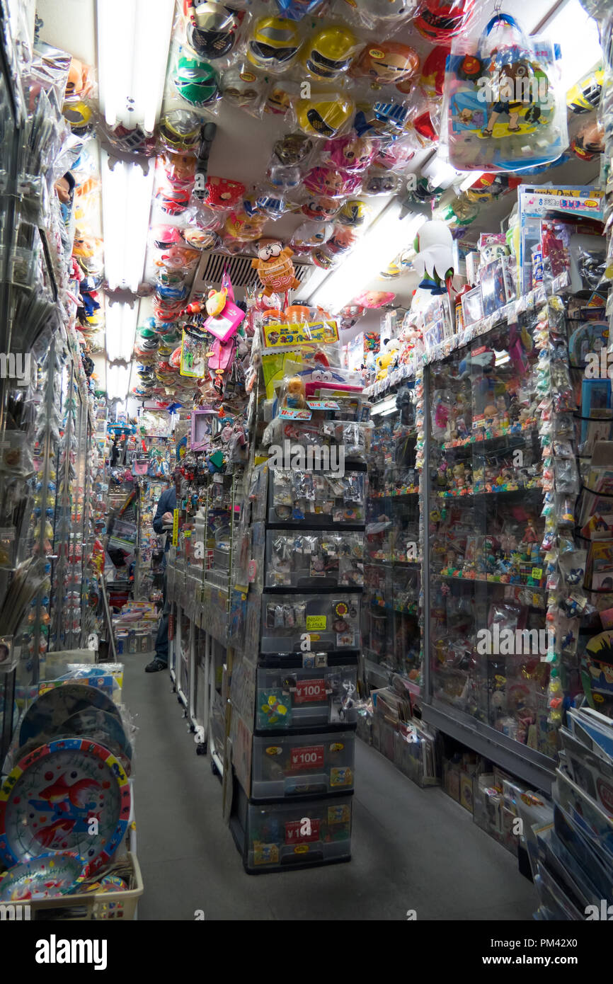 Store inside Nakano Broadway mall in Tokyo, Japan, Asia. Japanese shop selling old toys, vintage dolls, collectibles, memorabilia - Stock Image