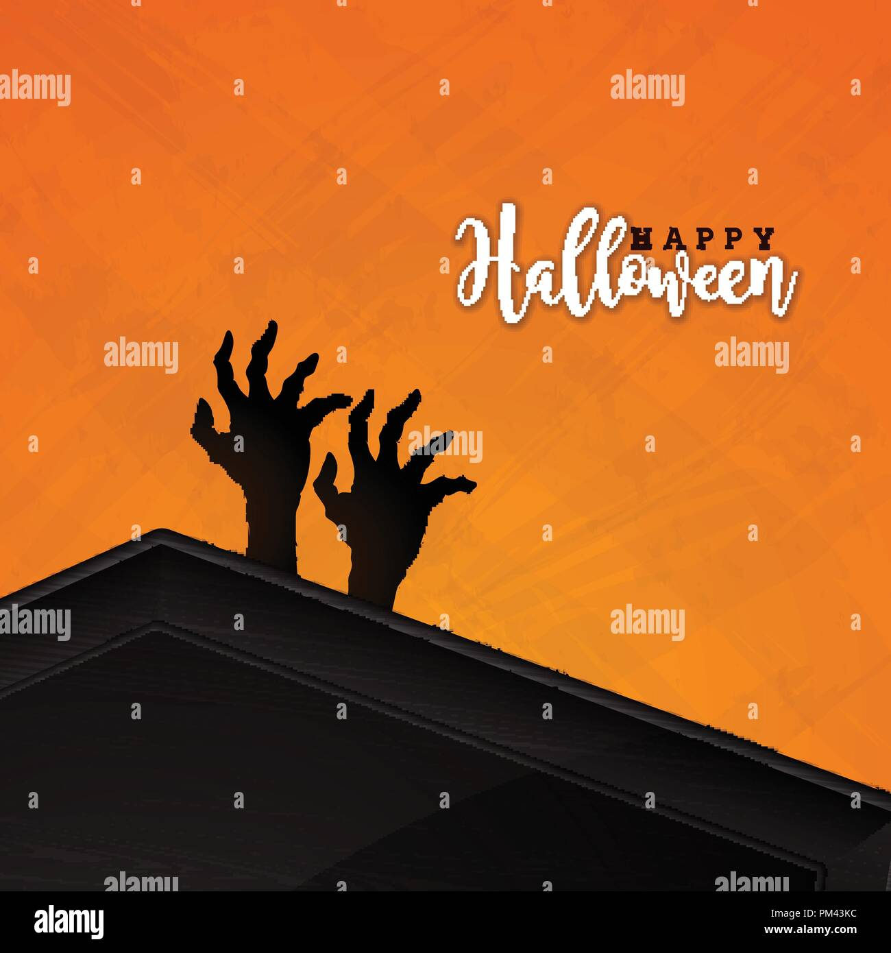 happy halloween banner illustration with coffin and zombie hand on