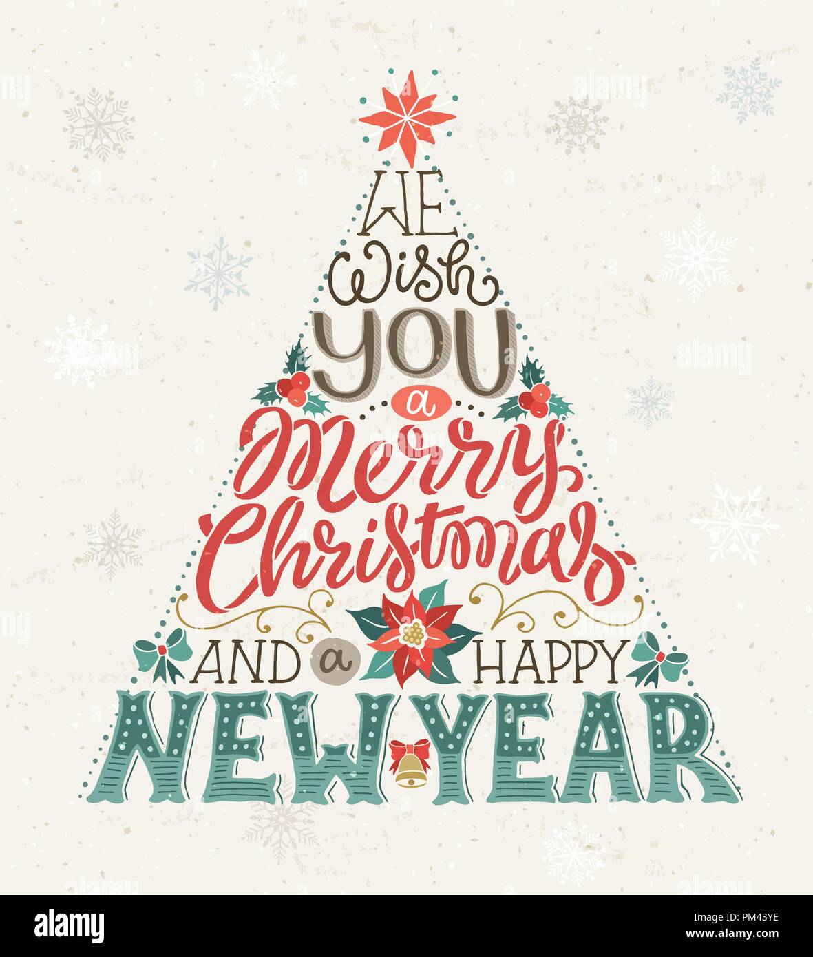 Merry Christmas And Happy New Year.Hand Drawn Christmas Tree Lettering We Wish You A Merry