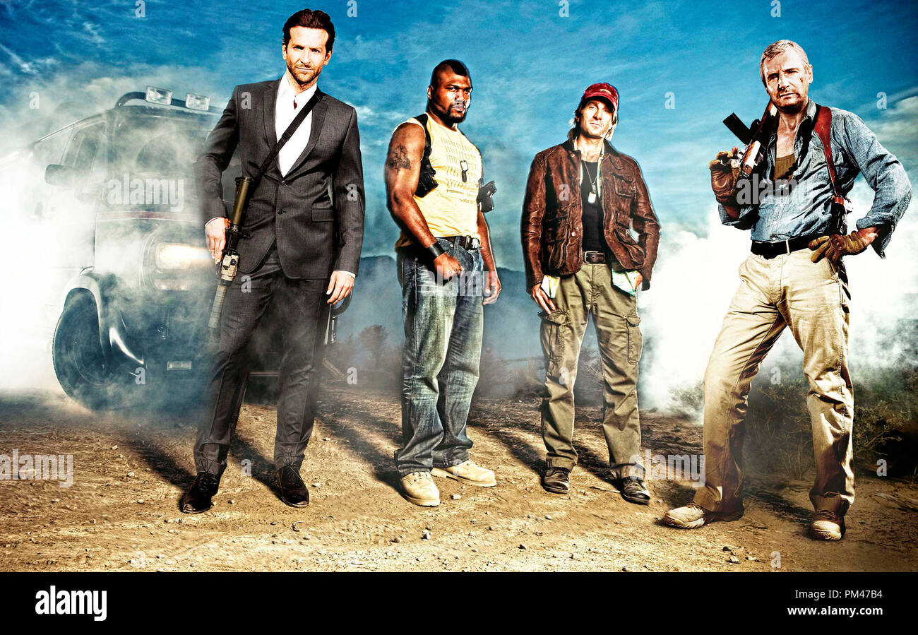 (left to right): Bradley Cooper as Templeton 'Face' Peck; UFC light heavyweight Quinton 'Rampage' Jackson as B.A. Baracas; Sharlto Copley as H.M. 'Howling Mad' Murdock; and Liam Neeson as Col Hannibal Smith. Photo credit: Michael Muller - Stock Image