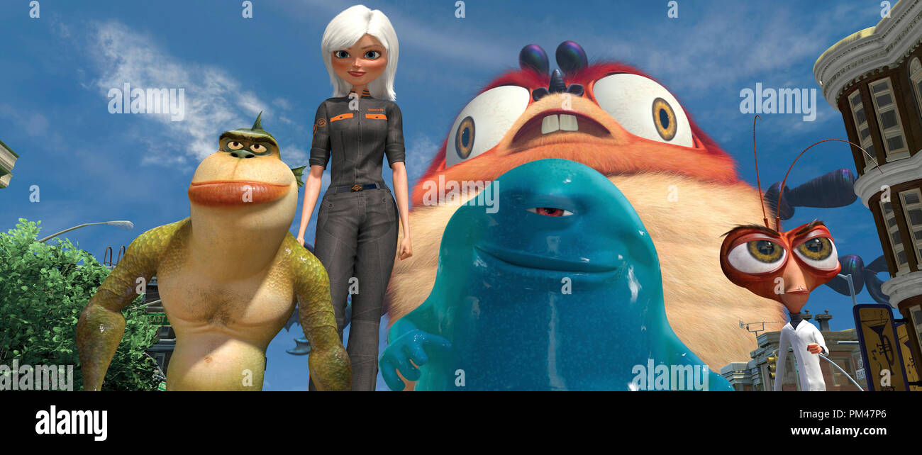 "(Left to right) These Monsters—The Missing Link (WILL ARNETT), Ginormica (REESE WITHERSPOON), B.O.B. (SETH ROGEN), Insectosaurus and Dr. Cockroach, Ph.D. (HUGH LAURIE)—are defenders of the planet. DreamWorks Animation SKG  Presents ""Monsters vs. Aliens,"" a Paramount Pictures release 2009 - Stock Image"