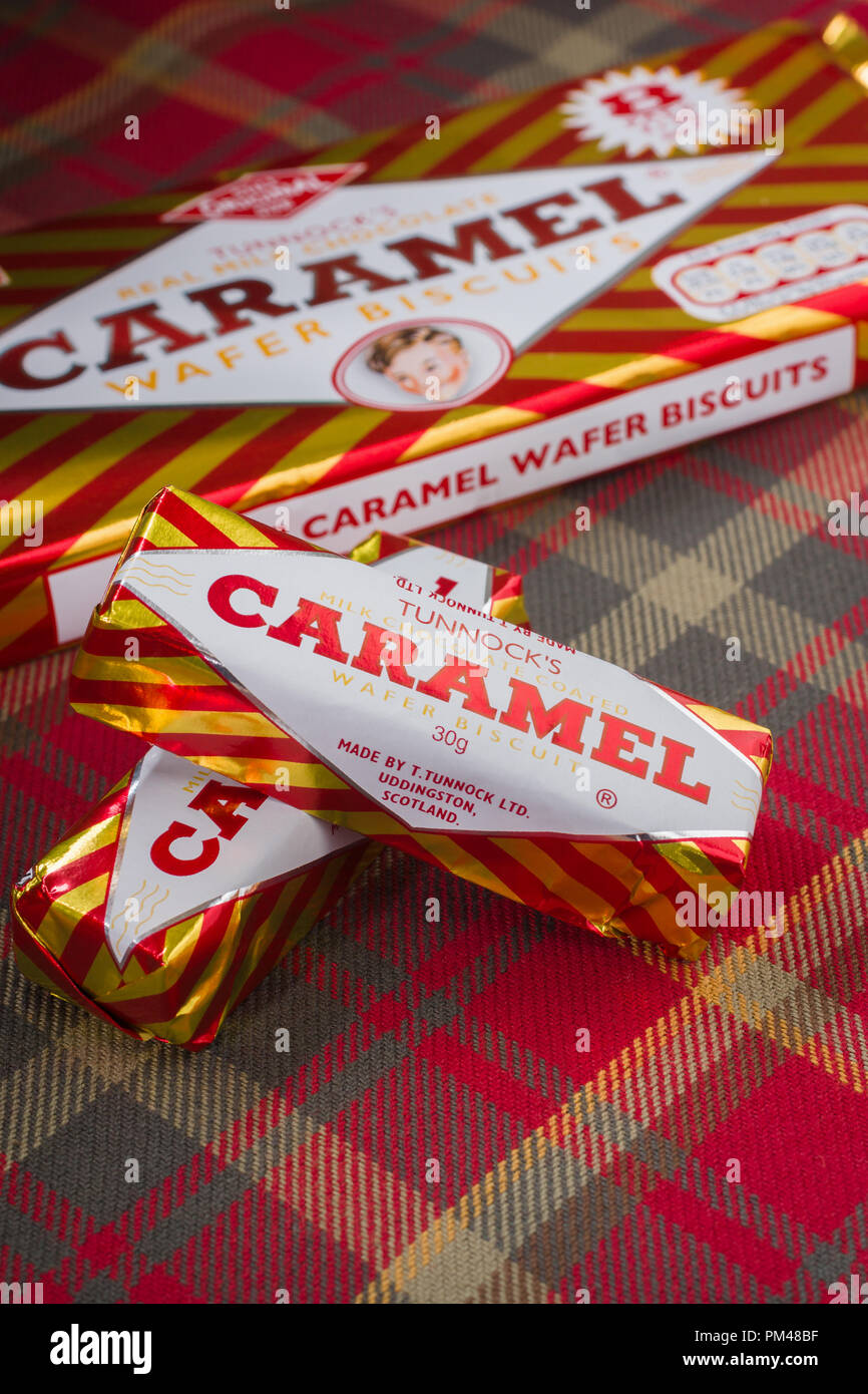 Tunnocks milk chocolate caramel wafers a biscuit produced by Tunnocks Family Bakers in Uddingston Scotland - Stock Image