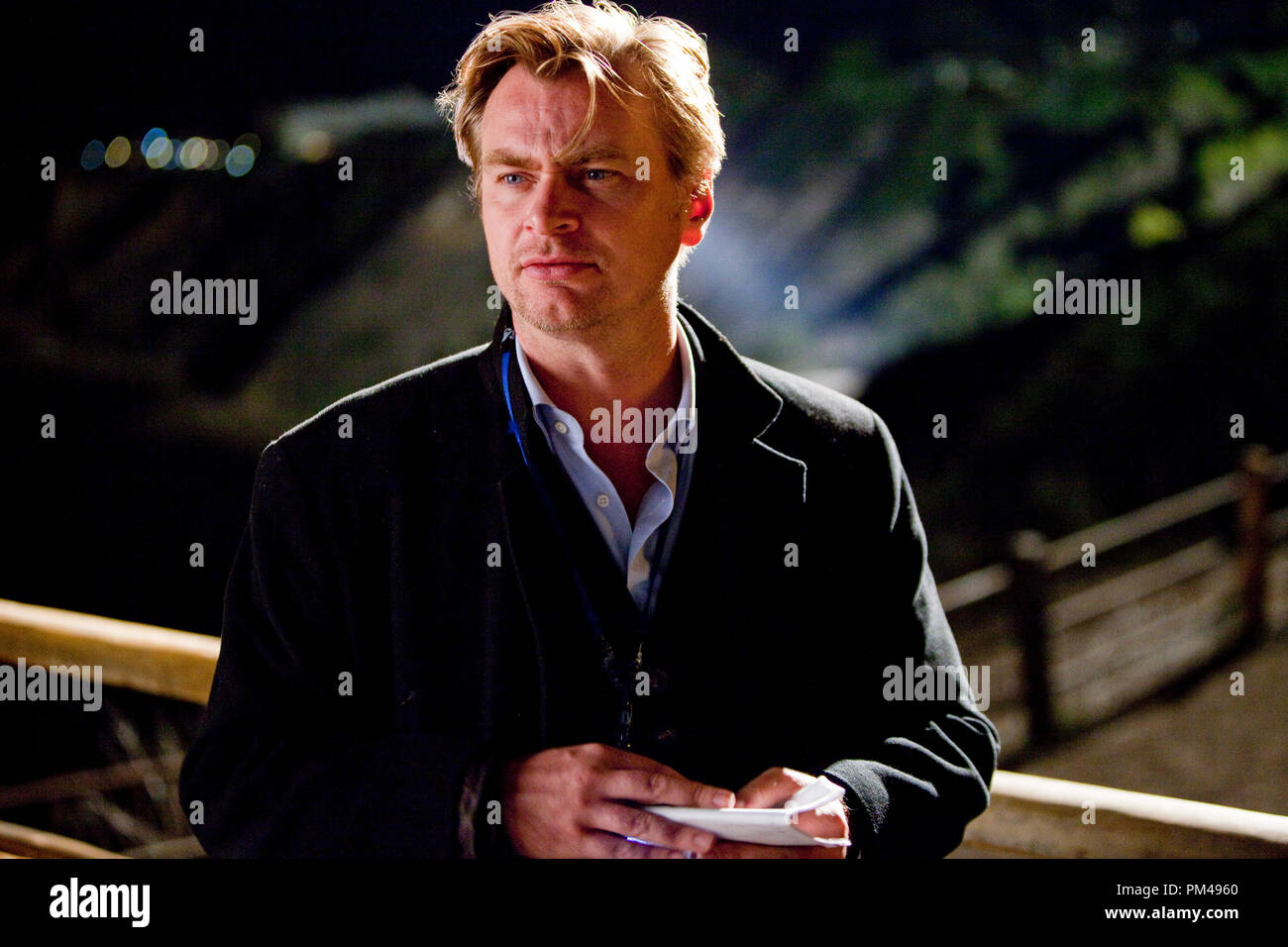 """Director CHRISTOPHER NOLAN on the set of Warner Bros. Pictures' and Legendary Pictures' sci-fi action film """"INCEPTION,"""" a Warner Bros. Pictures release. - Stock Image"""