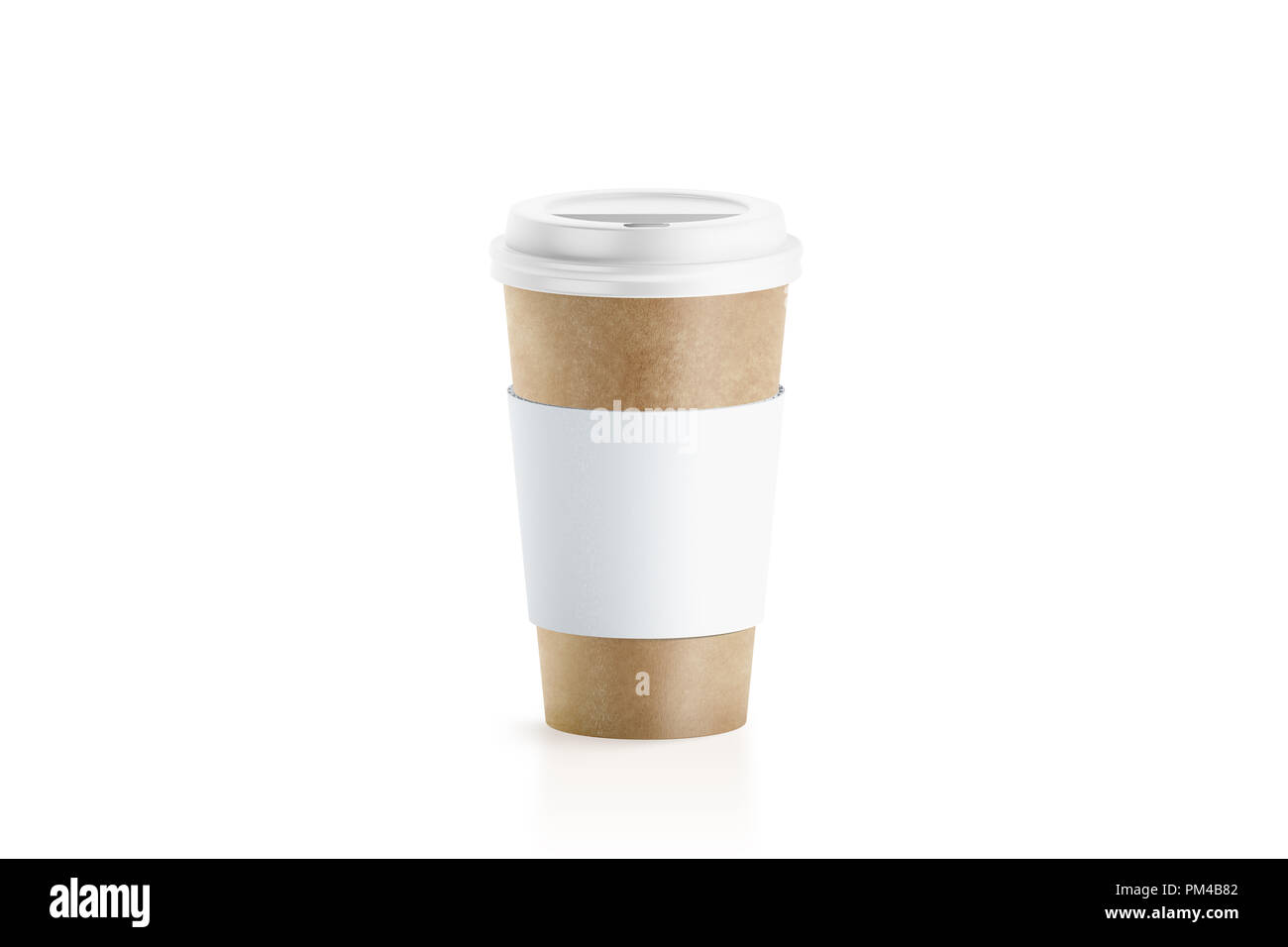 Blank craft paper cup with white sleeve holder mockup, 3d rendering. Empty coffe container with zarfs mock up. Clear disposable mug for cofe or tea. Take out pack with clutches isolated, logo branding - Stock Image