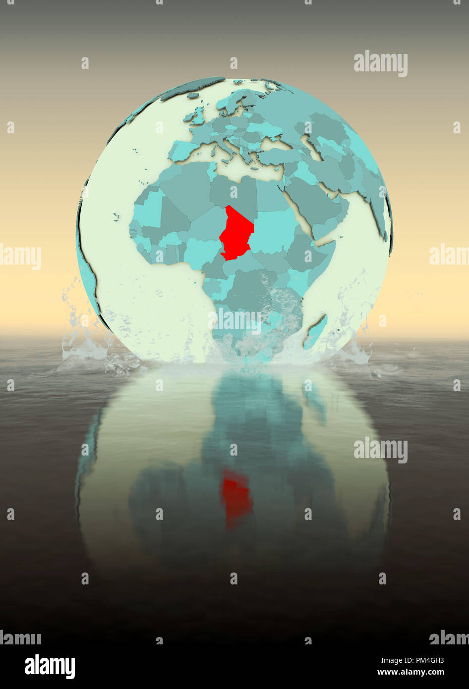 Chad on globe splashed into the water. 3D illustration. - Stock Image