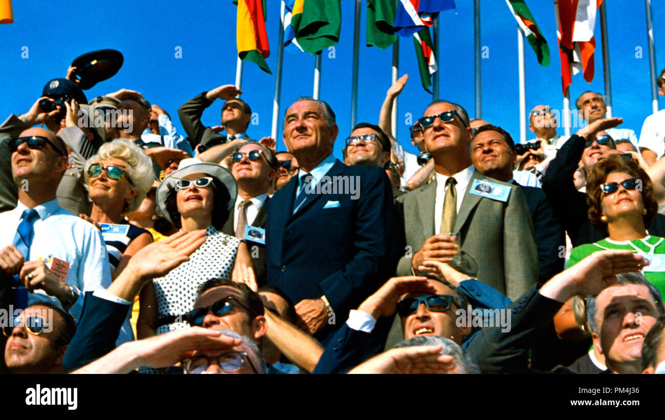 Vice President Spiro Agnew and former President Lyndon B. Johnson view the liftoff of Apollo 11 from pad 39A at Kennedy Space Center at 9:32 am EDT on July 16, 1969. Credit: NASA/APOLLO 11     File Reference # 1003_494THA - Stock Image