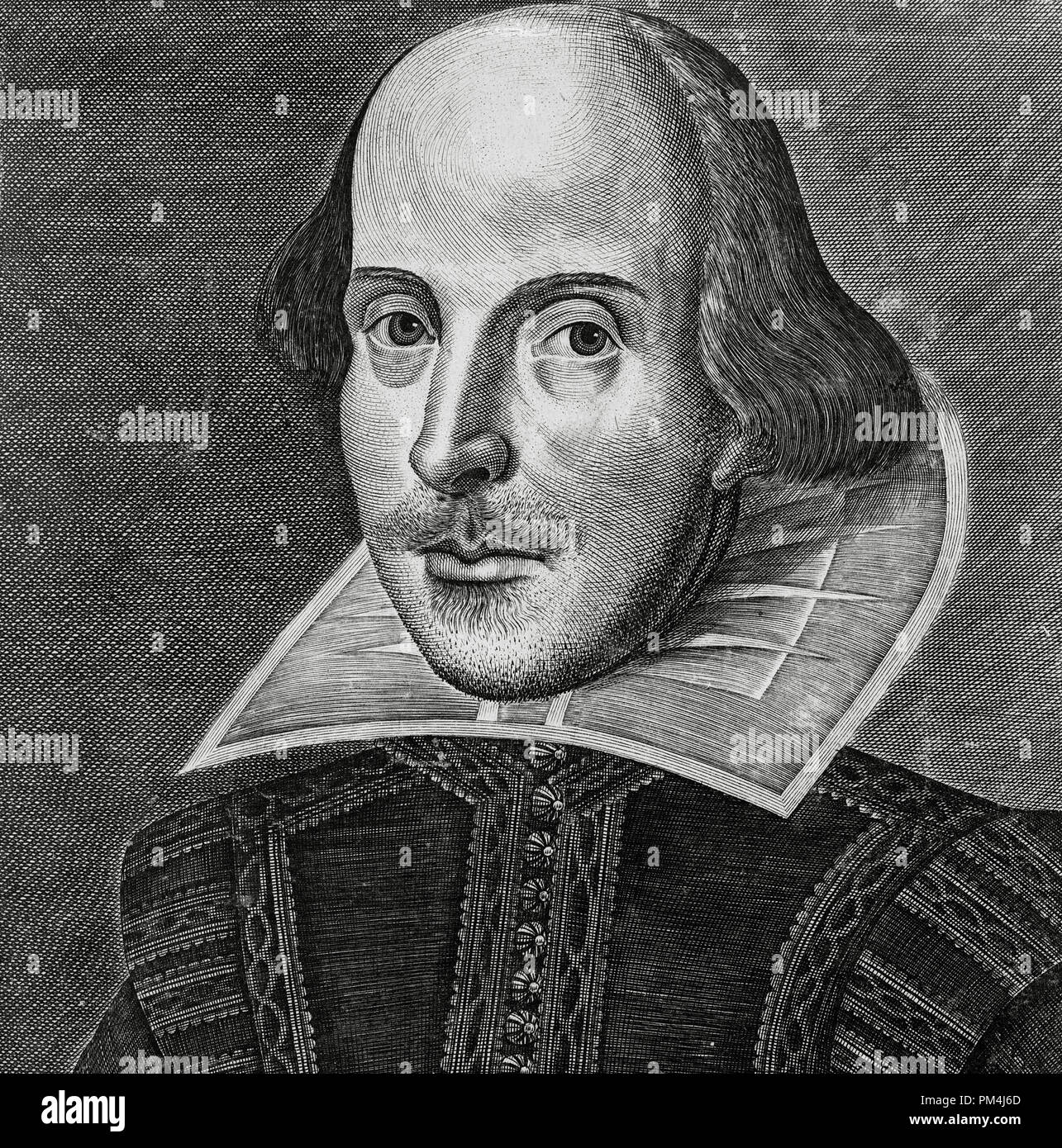The Martin Droeshout Portrait engraving of William Shakespeare (1564-1616),  from the First Folio, published in 1623 File Reference # 1003 564THA