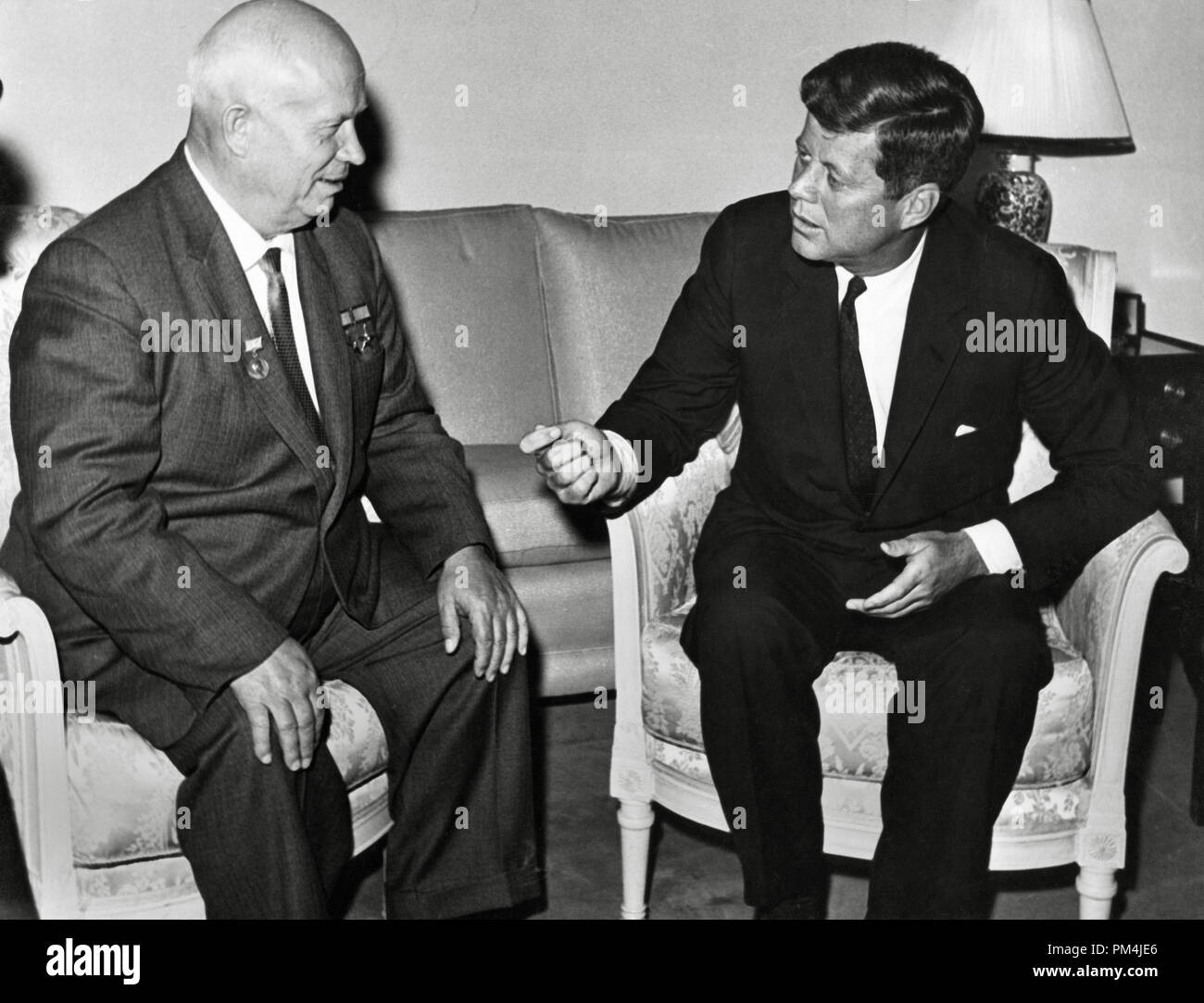 President John F. Kennedy meets with Nikita Khrushchev, chairman of the council of Ministers of the Soviet Union, at the U.S. Embassy residence in Vienna, Austria, 1961   File Reference # 1003_687THA - Stock Image