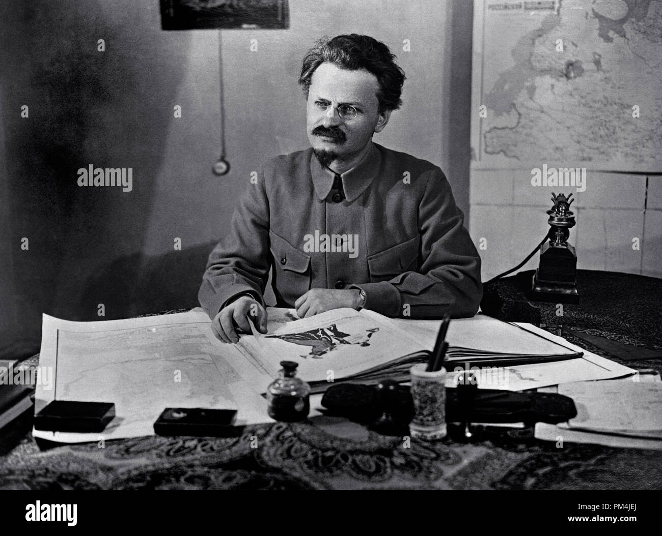 Russian revolutionary, political leader and author Leon Trotsky. Trotsky was one of the central leaders of the Russian Revolution, circa 1922   File Reference # 1003_691THA - Stock Image