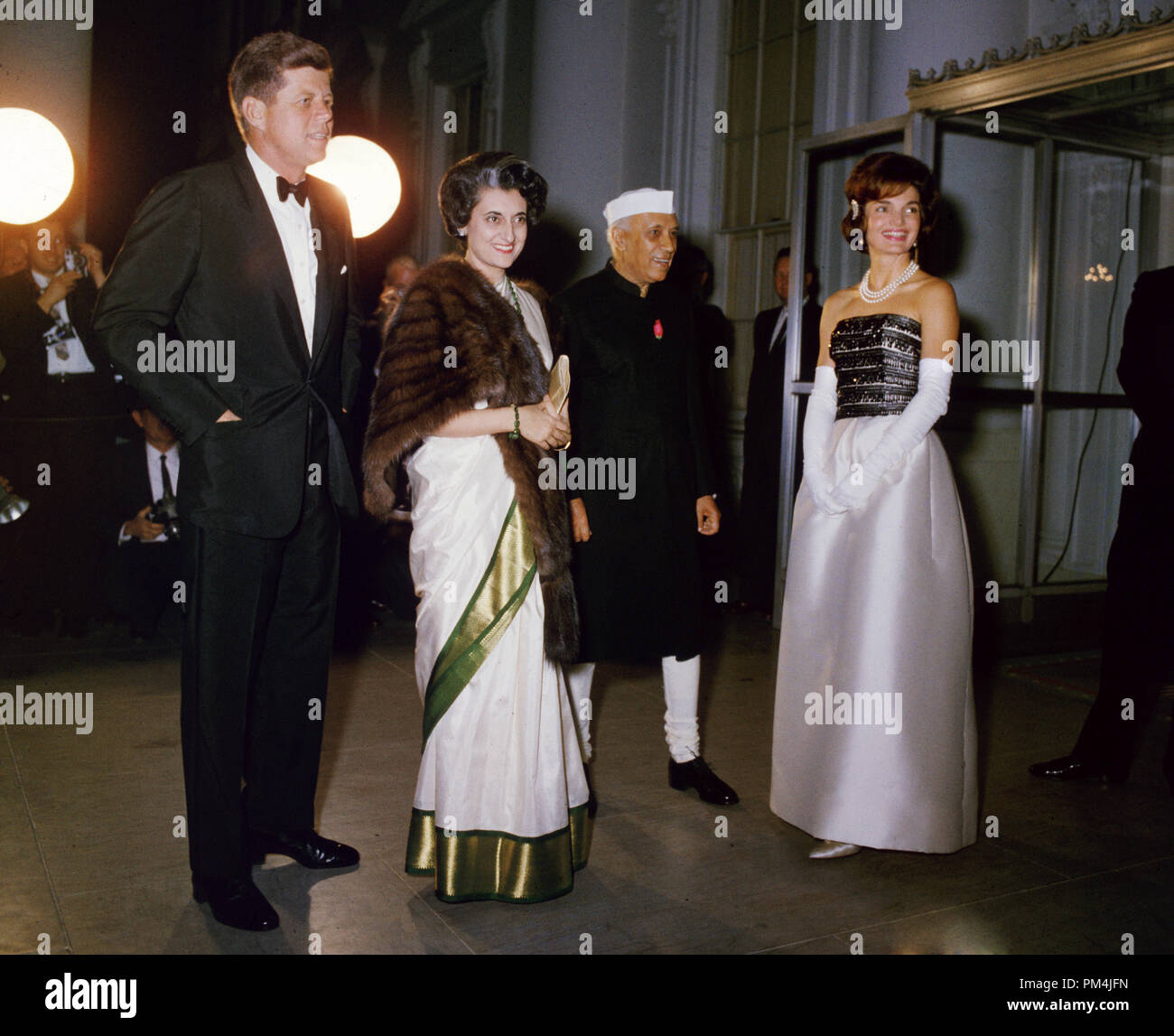 President John F. Kennedy with his wife Jacqueline, Indian prime minister Jawaharlal Nehru and Nehru's daughter Indira Gandhi, November 1961.   File Reference # 1003_705THA - Stock Image