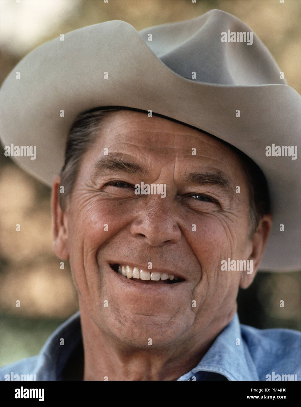 Ronald Reagan in a cowboy hat at Rancho Del Cielo, 1976   File Reference # 1003_762THA - Stock Image