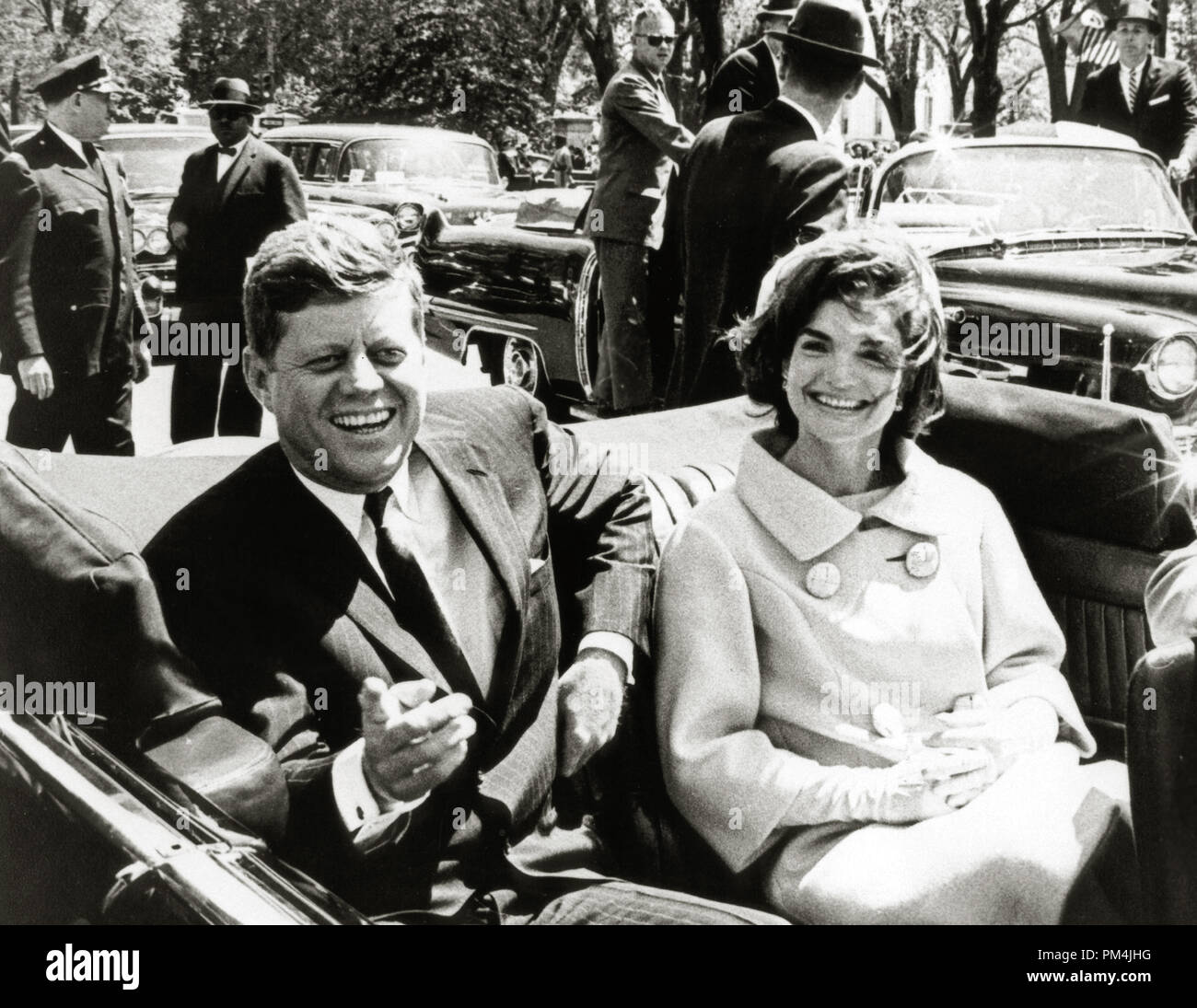 President John F. Kennedy and first lady Jacqueline Kennedy following arrival ceremonies for H. E. Habib Bourguiba, then-president of Tunisia, at Blair House, in Washington, May 3, 1961   File Reference # 1003_778THA - Stock Image
