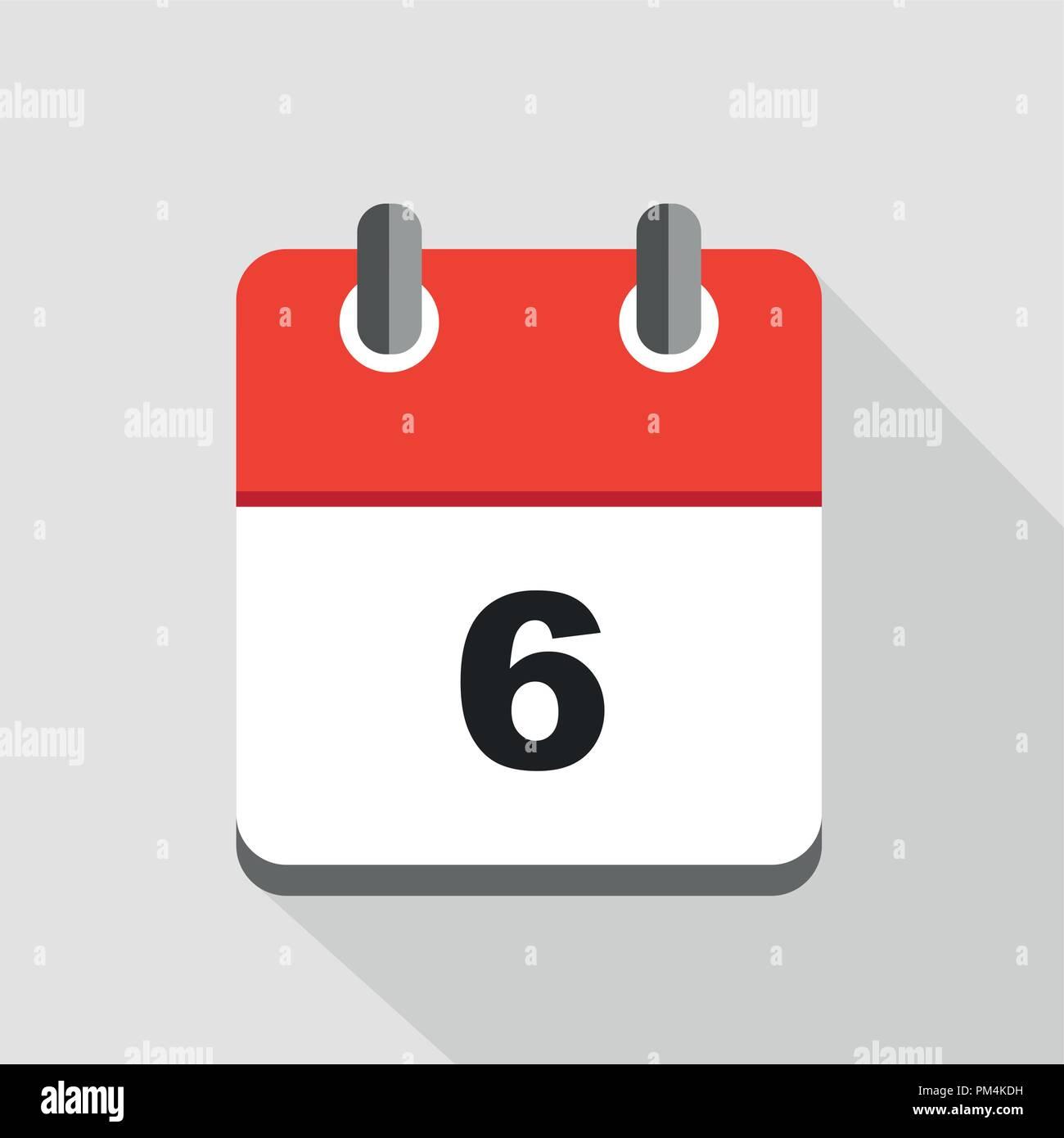 Illustration Calendrier.Vector Illustration Of Red Calendar 6 Icon Eps10 Stock