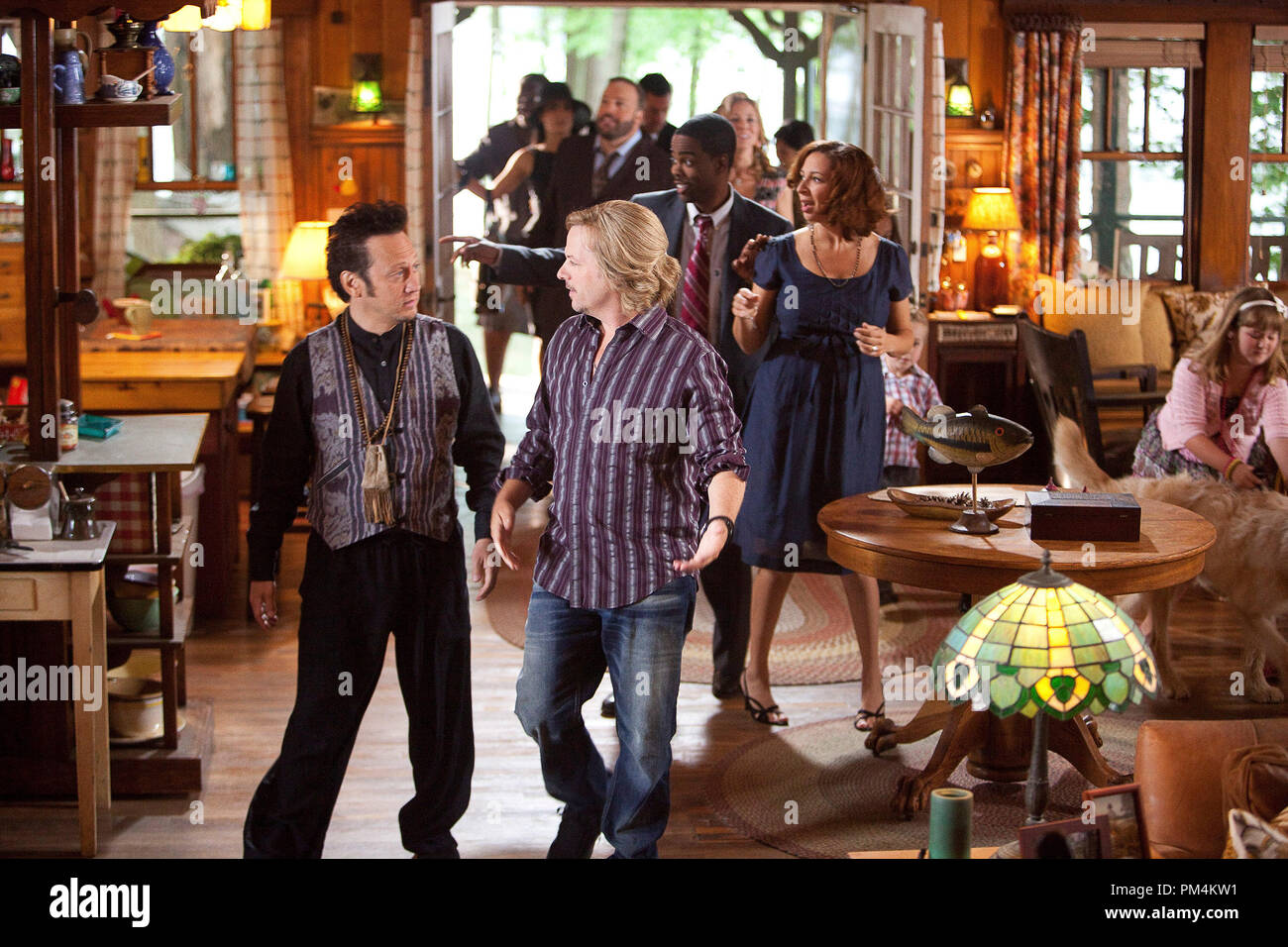 Rob Hilliard (Rob Schneider), Marcus Higgins (David Spade) in Columbia Pictures' GROWN UPS. - Stock Image