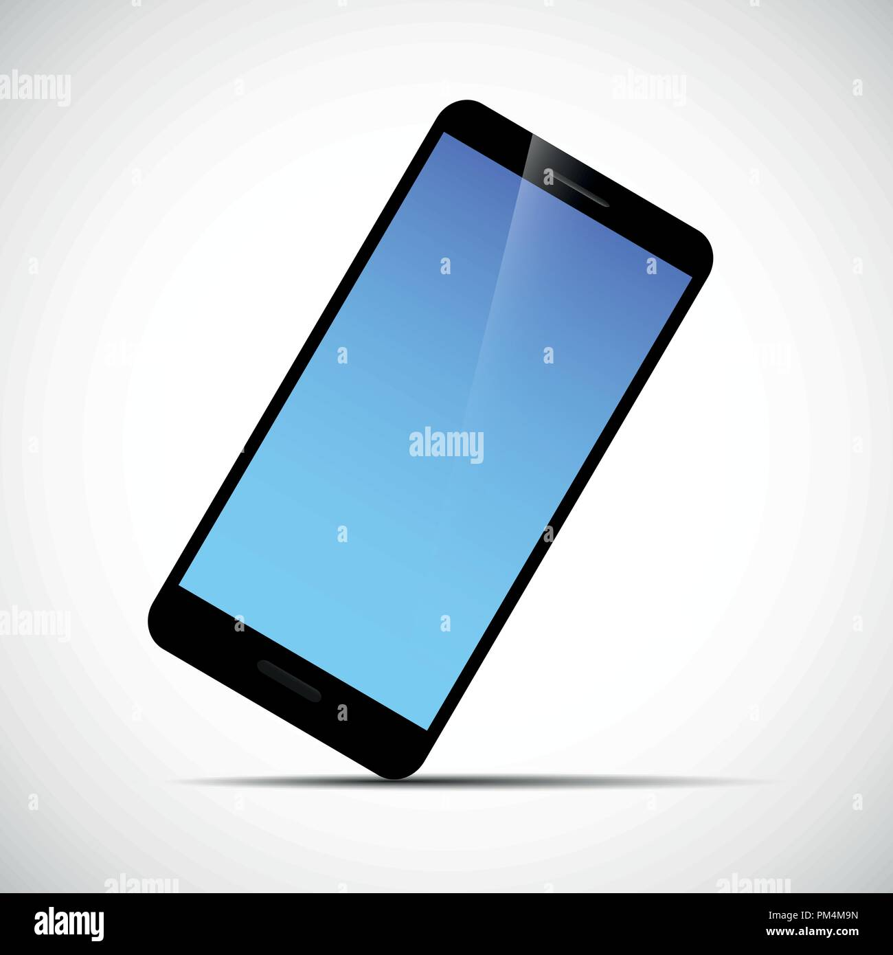 black smartphone mobile phone with blue screen vector illustration EPS10 Stock Vector