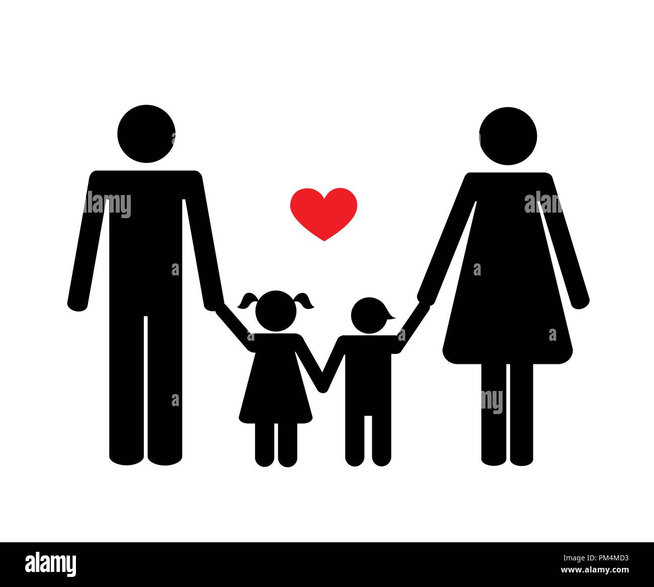 happy family with two children icon on the white background vector illustration - Stock Vector