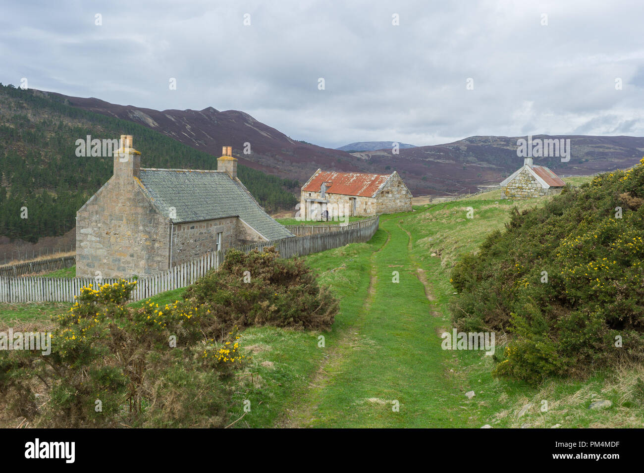 Former farmstead at Auchtavan on the Invercauld estate near Braemar Scotland. - Stock Image