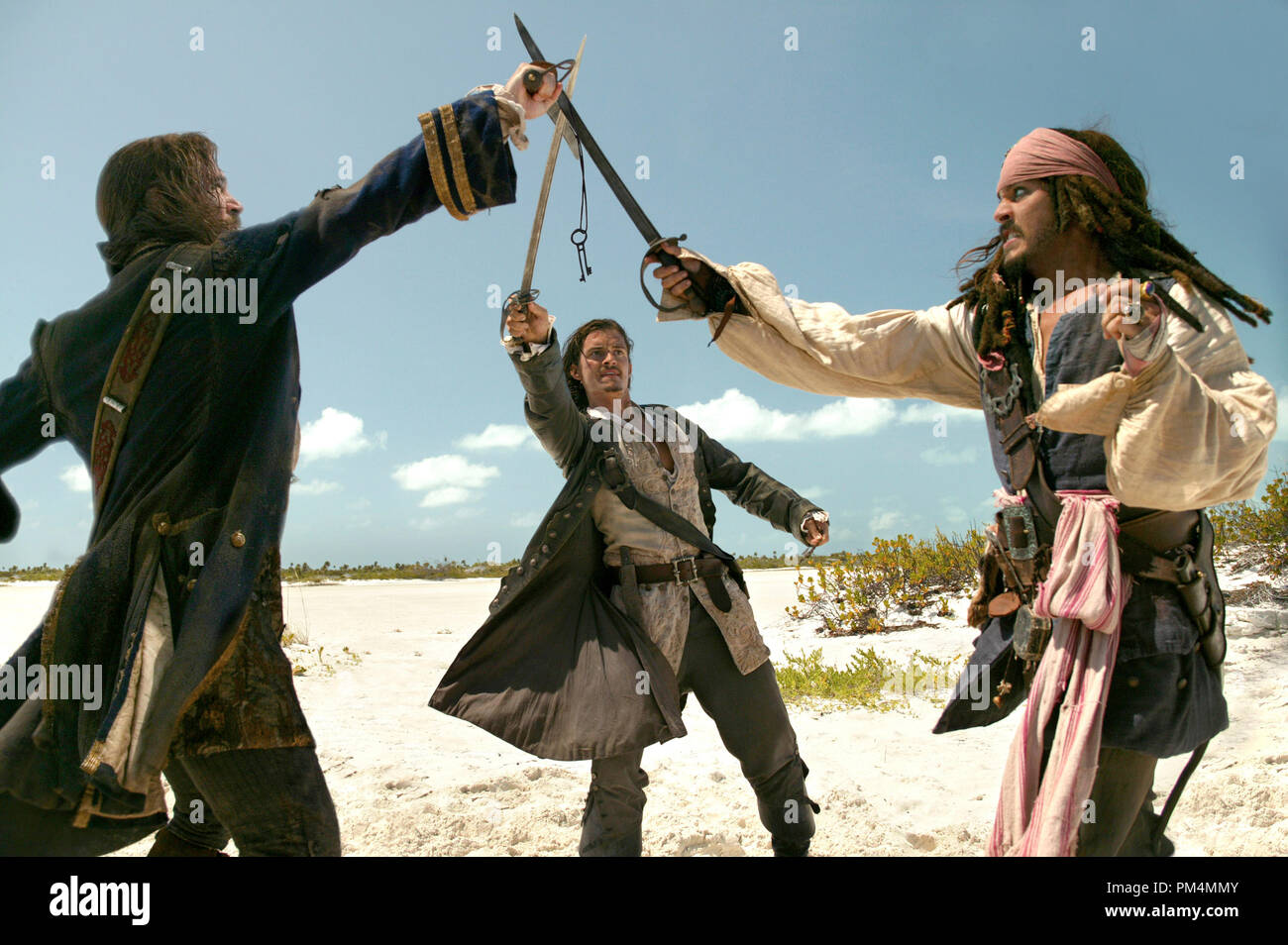 Walt Disney Pictures Presents 'Pirates of the Caribbean: Dead Man's Chest'  Jack Davenport, Johnny Depp, Orlando Bloom - Stock Image