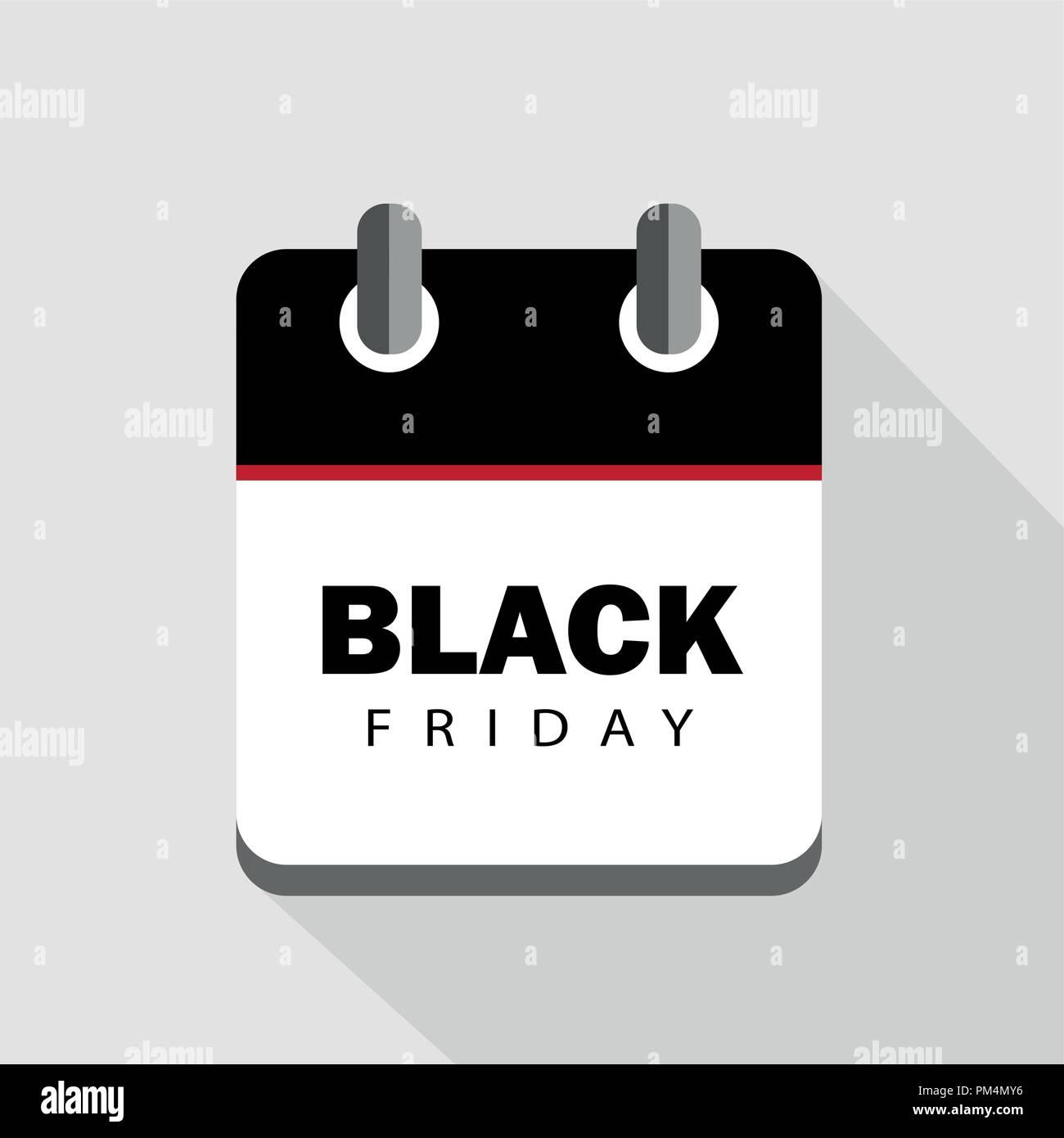Black Friday sale calendar advertising vector illustration - Stock Vector
