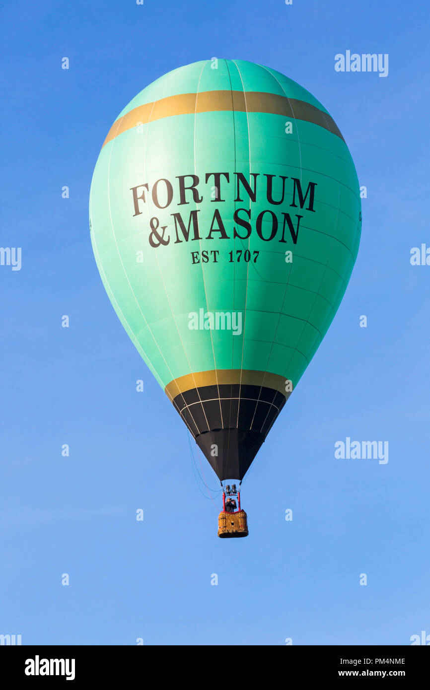 Fortnum & Mason hot air balloon in the sky at Longleat Sky Safari, Wiltshire, UK in September Stock Photo
