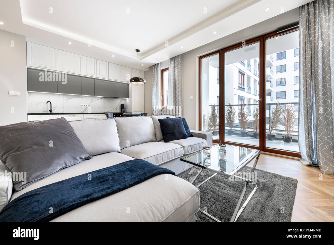 Modern living-room and kitchen in stylish apartment Stock ...