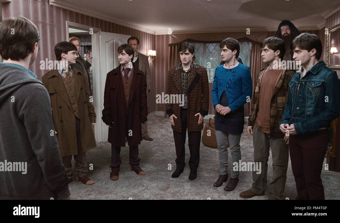 (L-r) MARK WILLIAMS as Arthur Weasley, DAVID THEWLIS as Remus Lupin and ROBBIE COLTRANE as Rubeus Hagrid behind DANIEL RADCLIFFE as Harry Potter and in Warner Bros. PicturesÕ fantasy adventure ÒHARRY POTTER AND THE DEATHLY HALLOWS Ð PART 1,Ó a Warner Bros. Pictures release. Photo courtesy of Warner Bros. Pictures - Stock Image