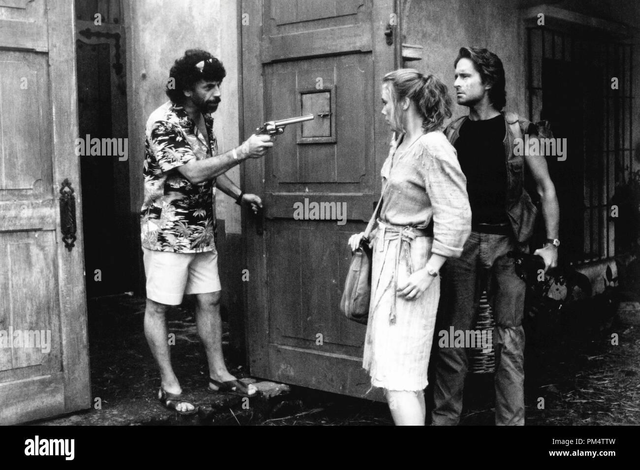 Michael Douglas, Kathleen Turner and Alfomso Arau 'Romancing the Stone' 1984 - Stock Image