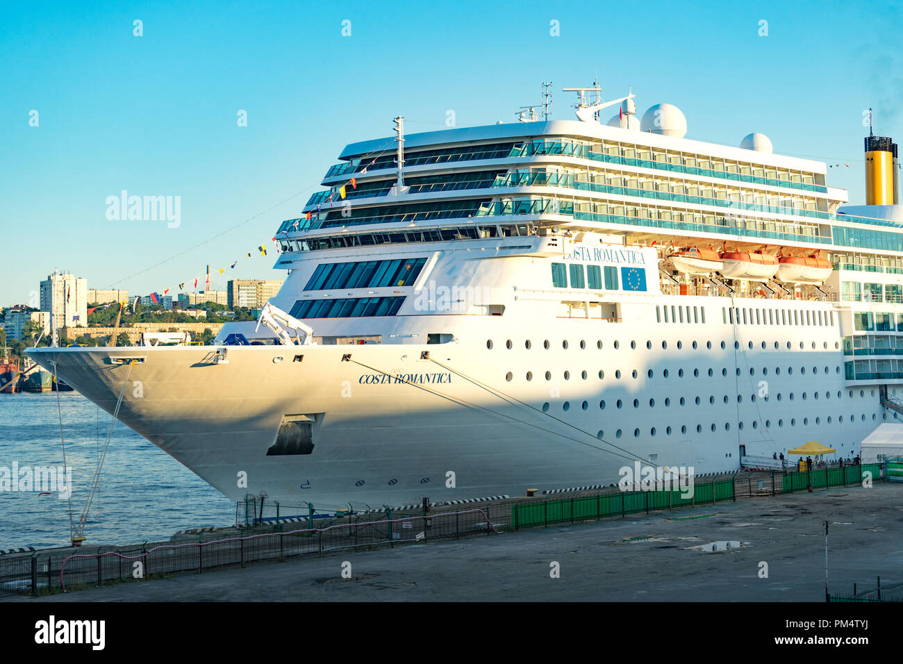 Vladivostok Russia September 9 2018 Cruise Ship Costa Neoromantica For The Background Of The Sea In The Evening Stock Photo Alamy