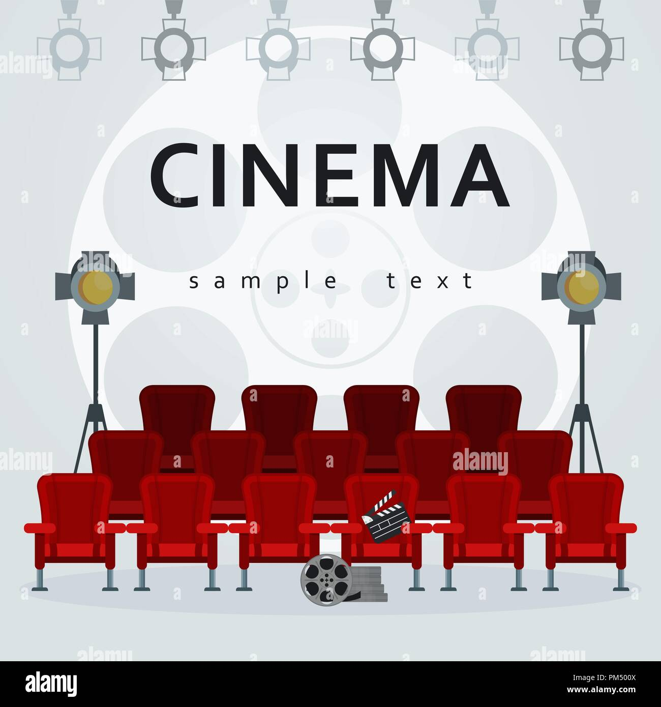 Auditorium and red comfortable armchairs in the cinema under spotlight - Stock Vector