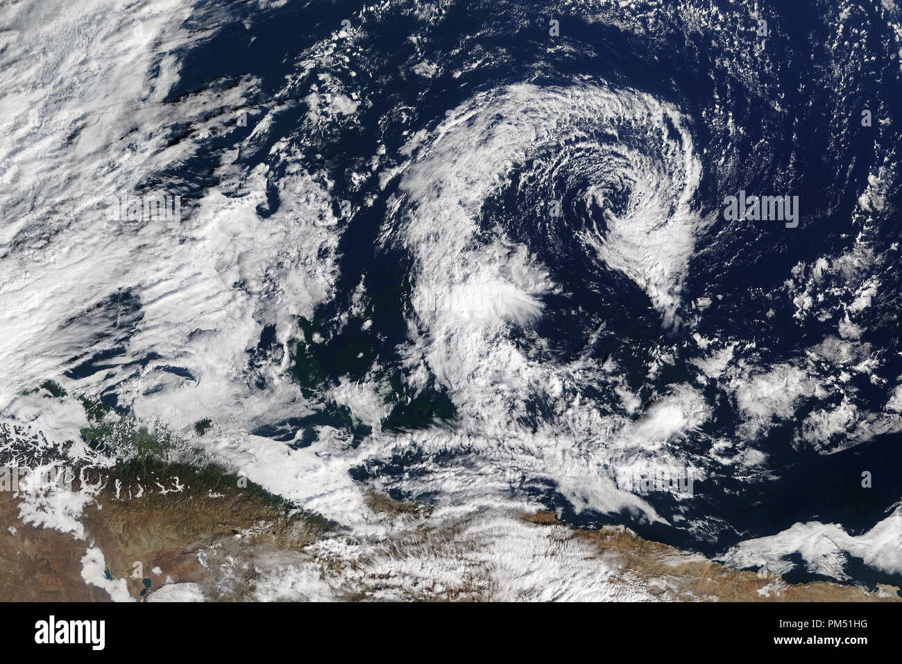 Satellite view of huge cyclone. Elements of this image furnished by NASA. - Stock Image
