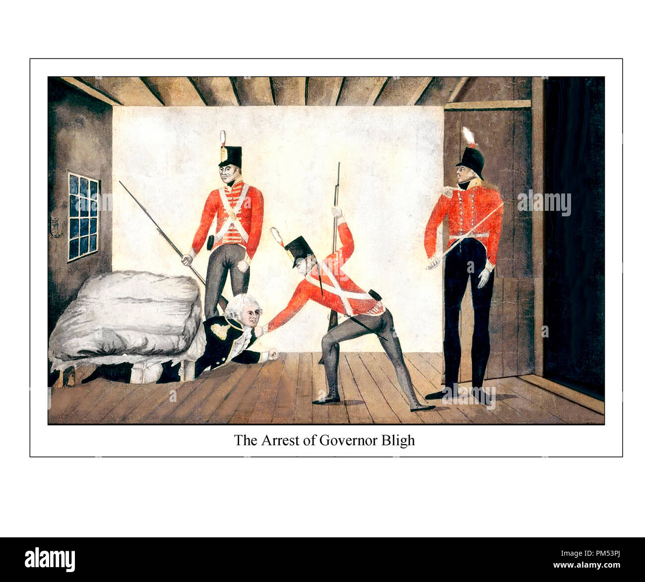 The Arrest of Governor Bligh 1808. Cartoon ca. 1810.  Reset, Refreshed and Repaired - Stock Image