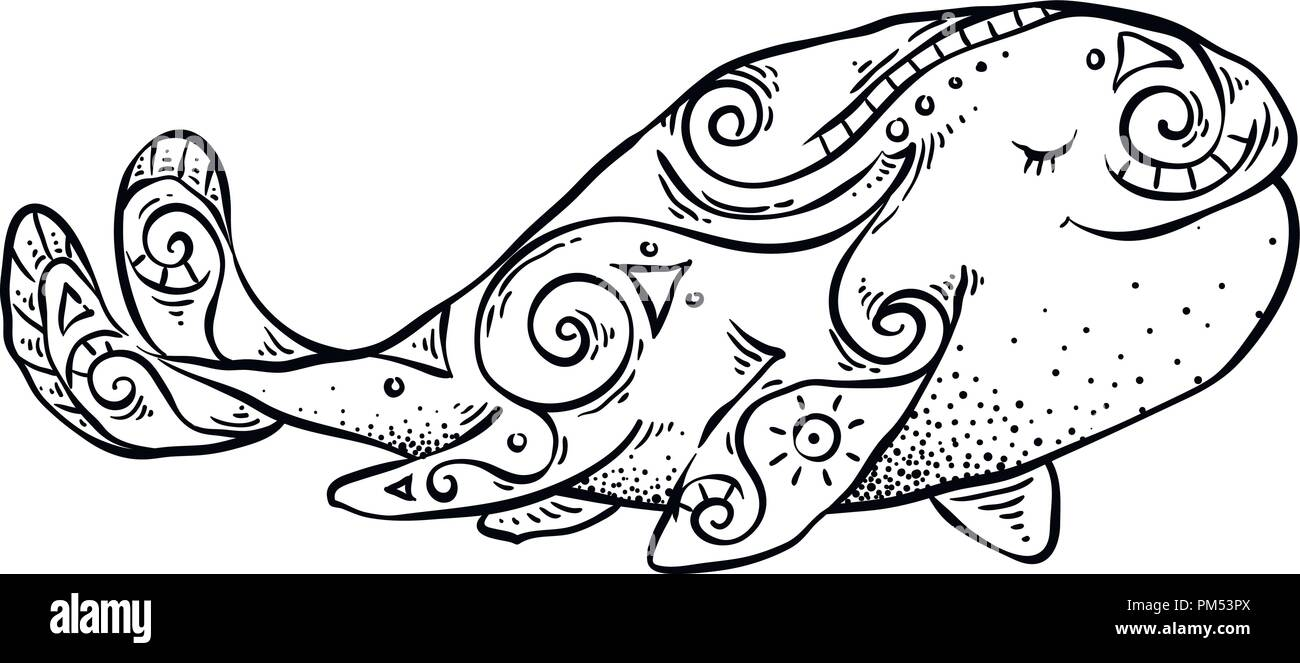 Ink hand-painted tribal whale. Graphical vector ornate illustration ...