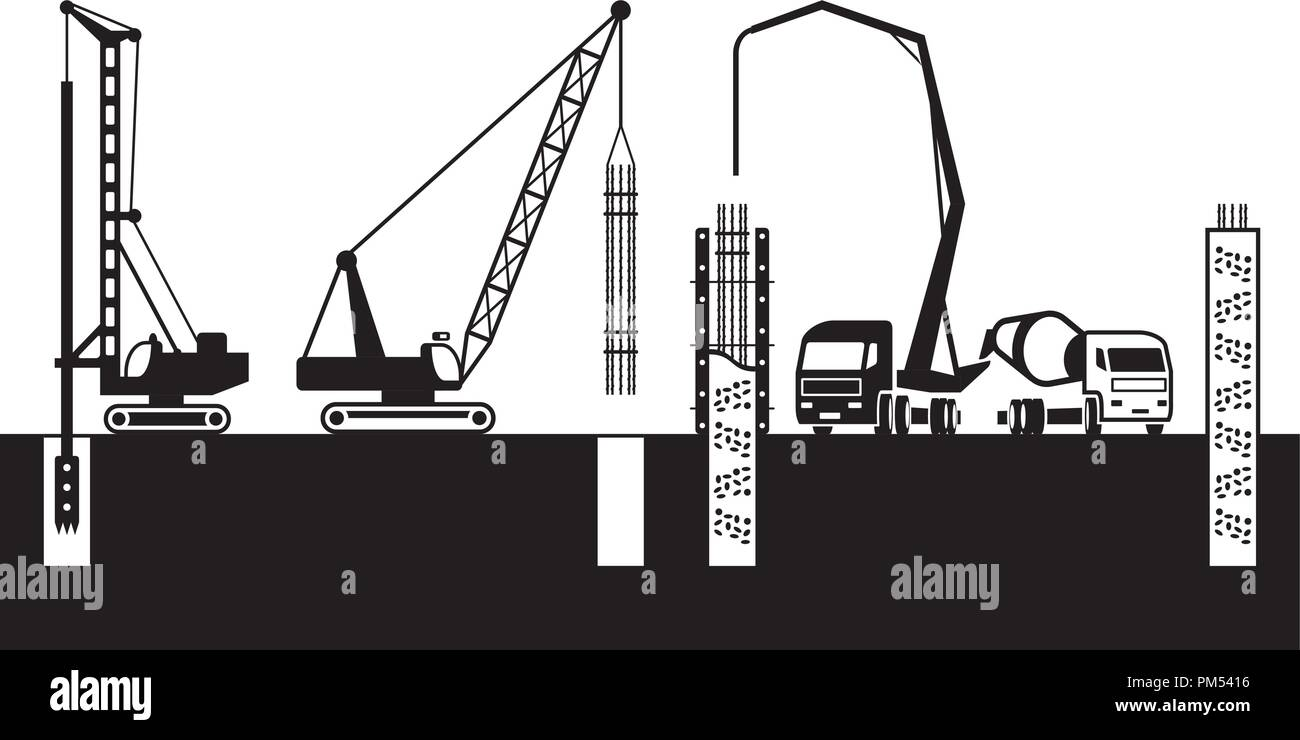 Construction machinery make foundations of a building - vector illustration - Stock Vector