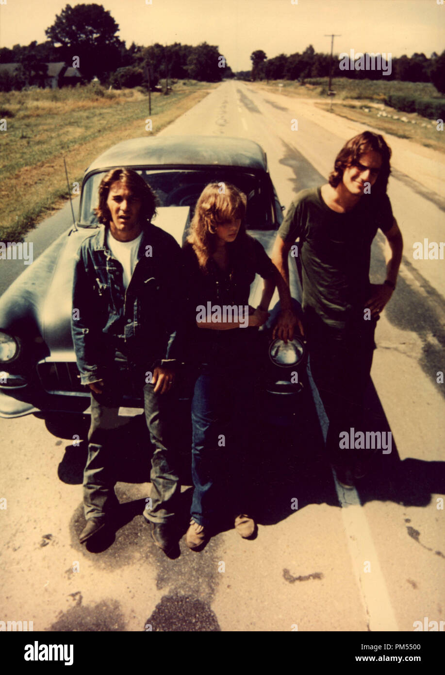 James Taylor, Laurie Bird, and Dennis Wilson in 'Two-Lane Blacktop' 1971 - Stock Image