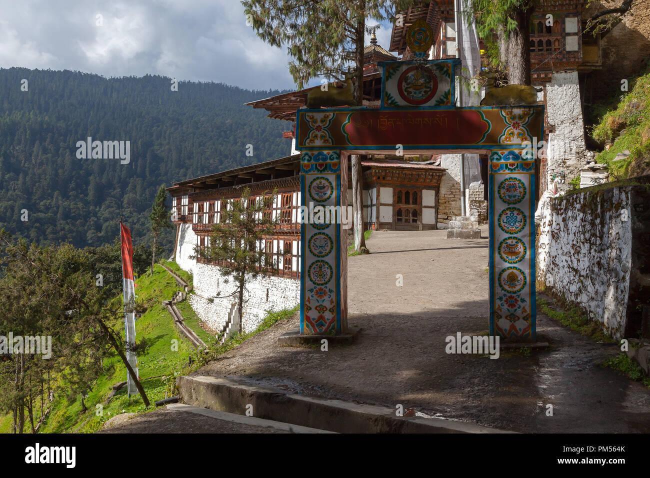 Stunning view from Cheri Monastery, in Bhutan. - Stock Image