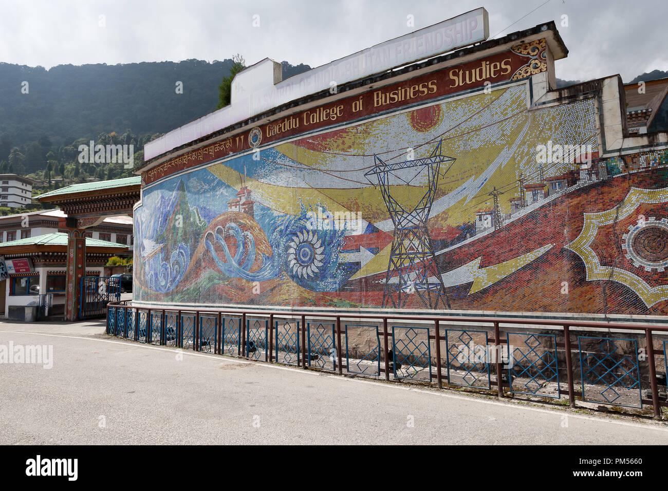 Entrance to Gaeddu College of Business Studies in Thimphu Bhutan. - Stock Image