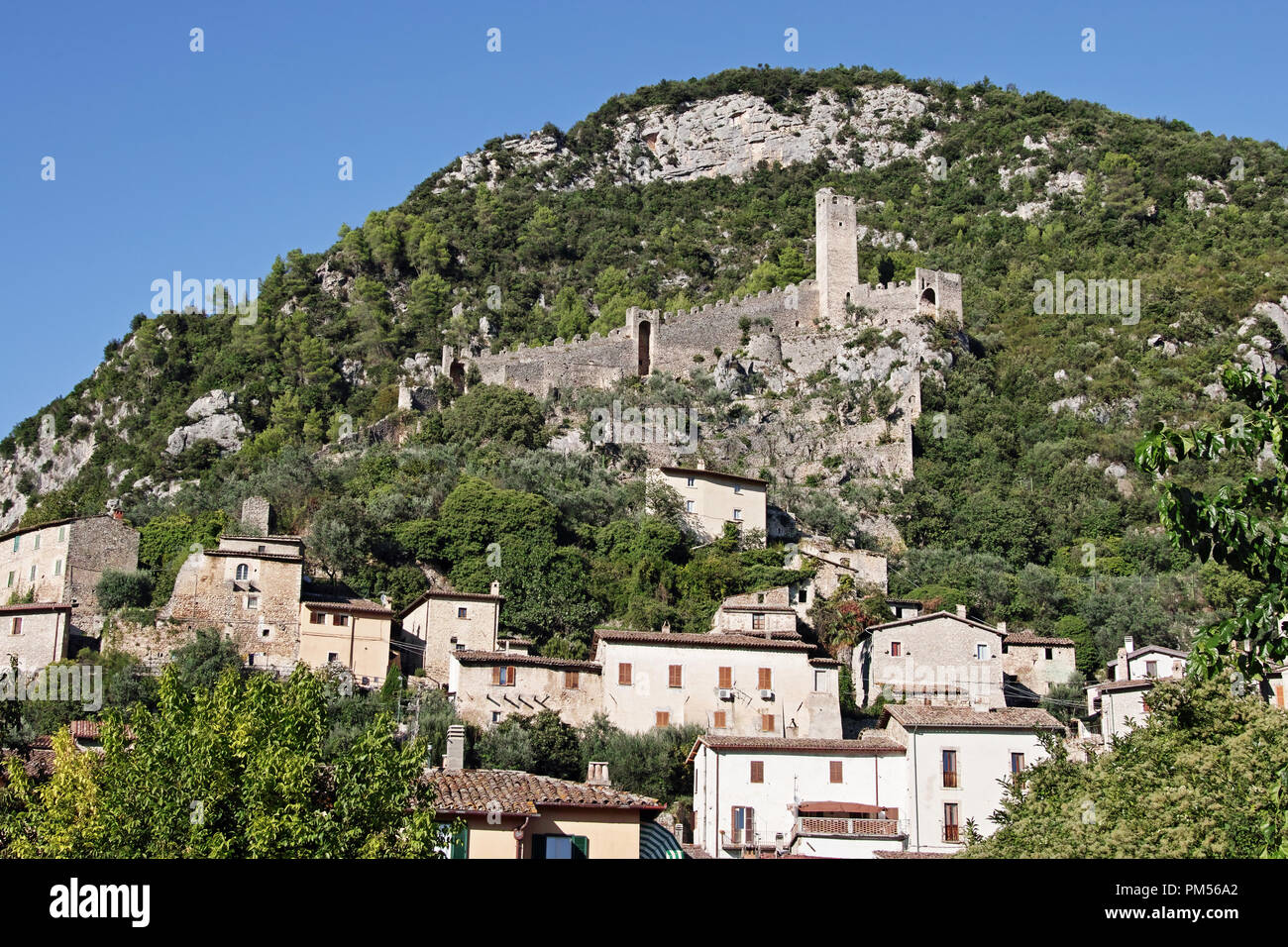 Ferentillo, a glimpse of the side of Precetto and the ruins of its fortress - Stock Image