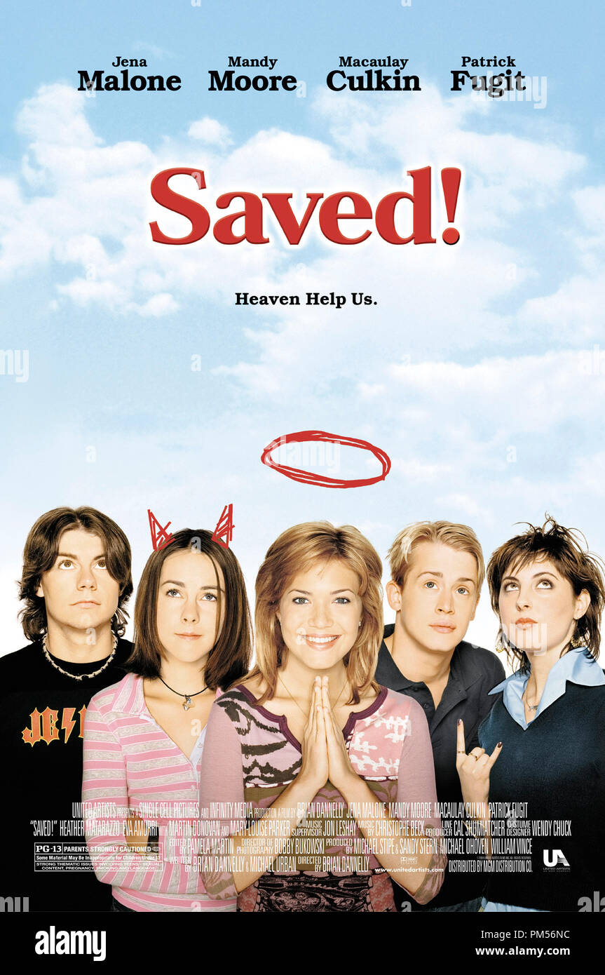 Poster Art from 'Saved' Patrick Fugit, Jena Malone, Mandy Moore, Macaulay Culkin, Eva Amurri - Poster © 2004 United Artists Photo Credit: Diyah Pera File Reference # 307351279THA  For Editorial Use Only -  All Rights Reserved - Stock Image