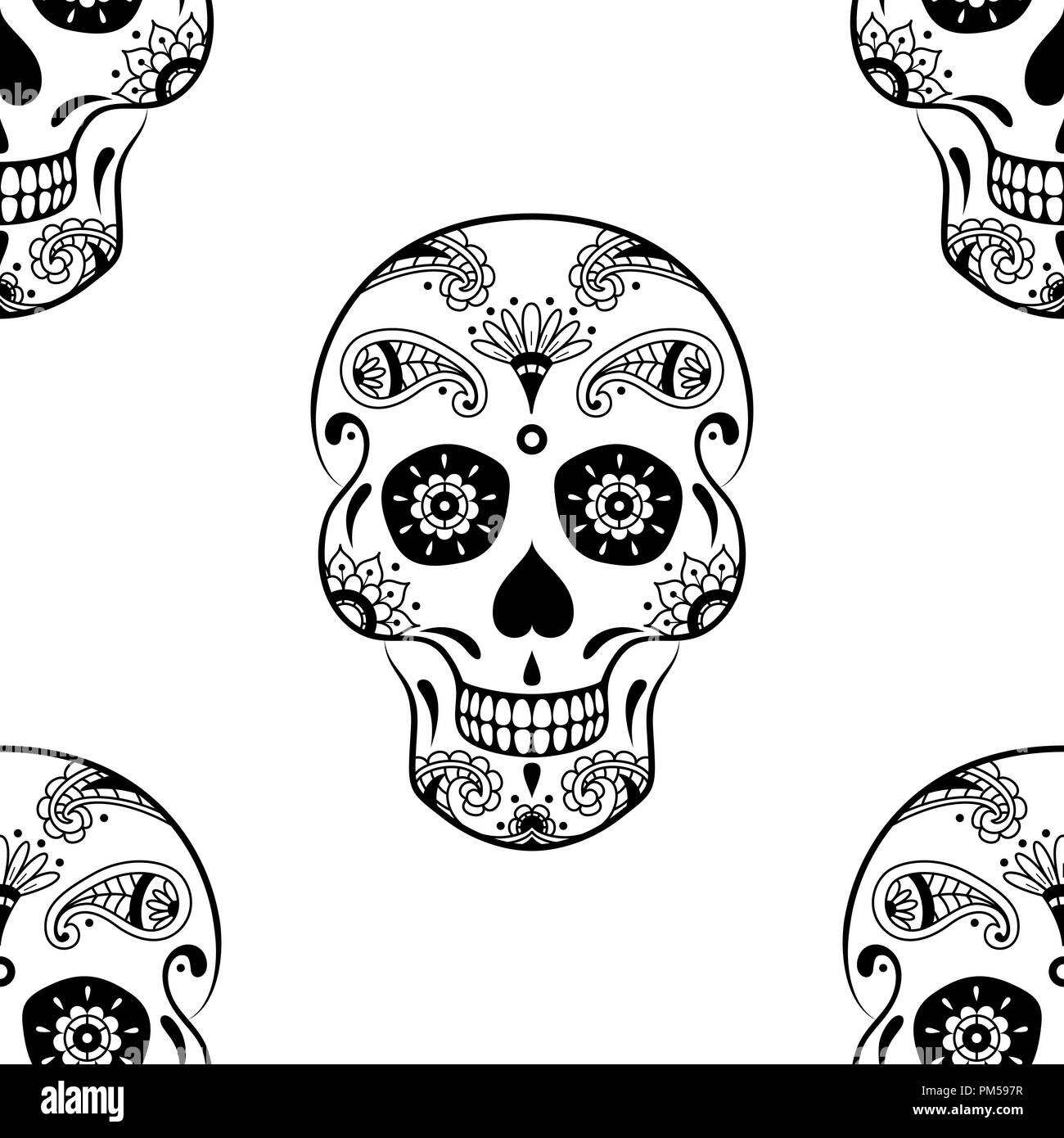 vector seamless pattern of black sugar skull with doodle floral pattern on white background coloring page book for mexican day of the dead PM597R