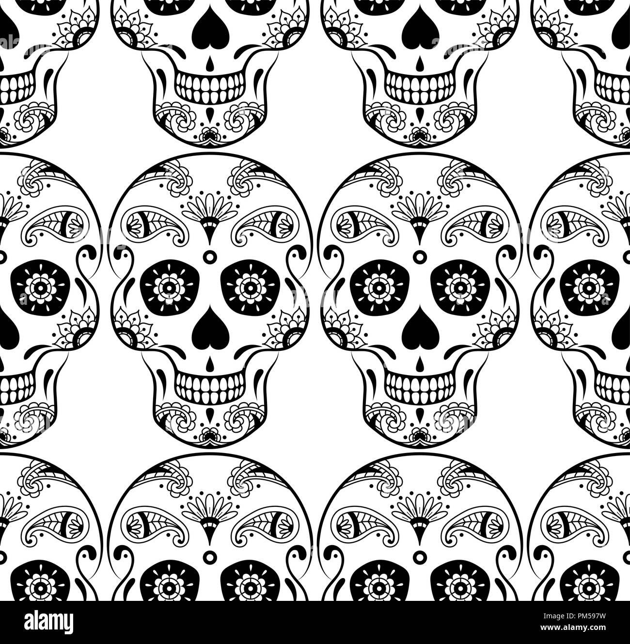 vector seamless pattern of black sugar skull with doodle floral pattern on white background coloring page book for mexican day of the dead PM597W