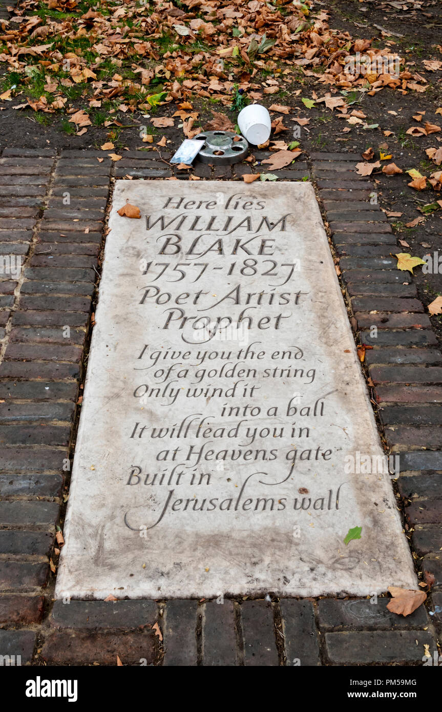 New gravestone on exact site of William Blake's burial in Bunhill Fields. Unveiled in August 2018. - Stock Image