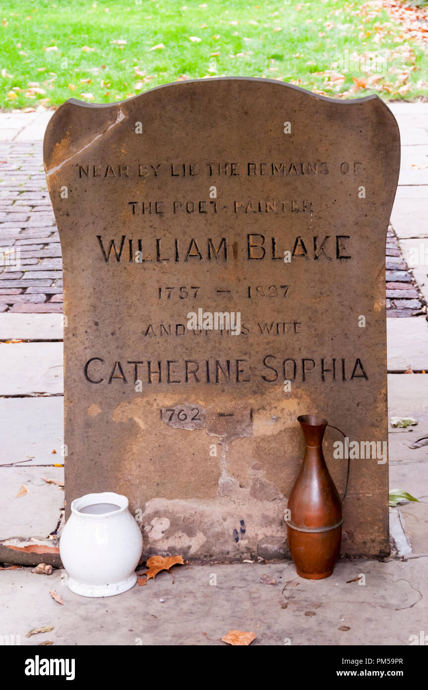 Original memorial to the burial place of William Blake, a poet and artist, and his wife Catherine in Bunhill Fields burial ground, London. - Stock Image