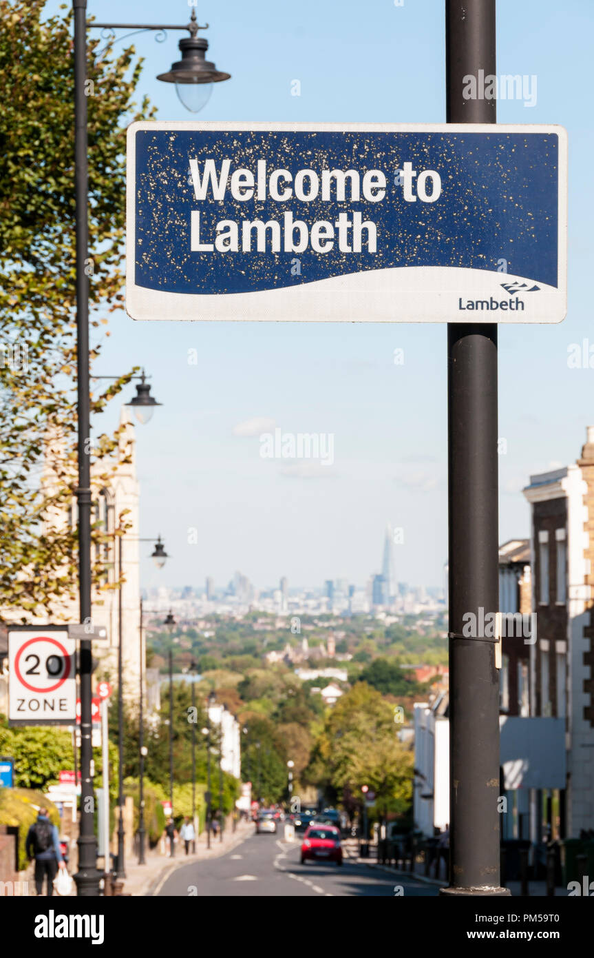 A Welcome to Lambeth sign on Gipsy Hill at Crystal Palce in South London. - Stock Image
