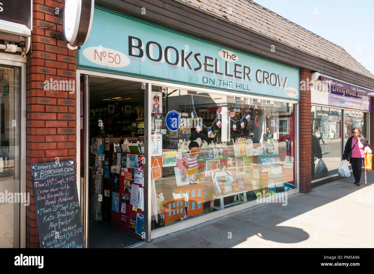The Bookseller Crow on the Hill independent bookshop in Crystal Palace, South London. - Stock Image