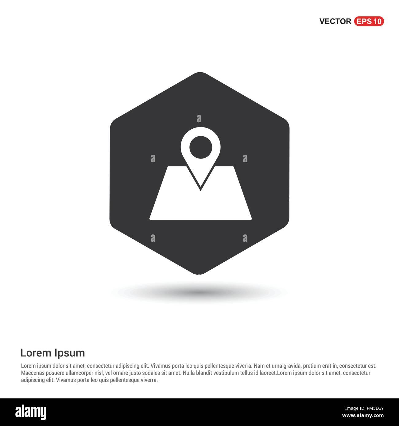 Map location icon Hexa White Background icon template - Free