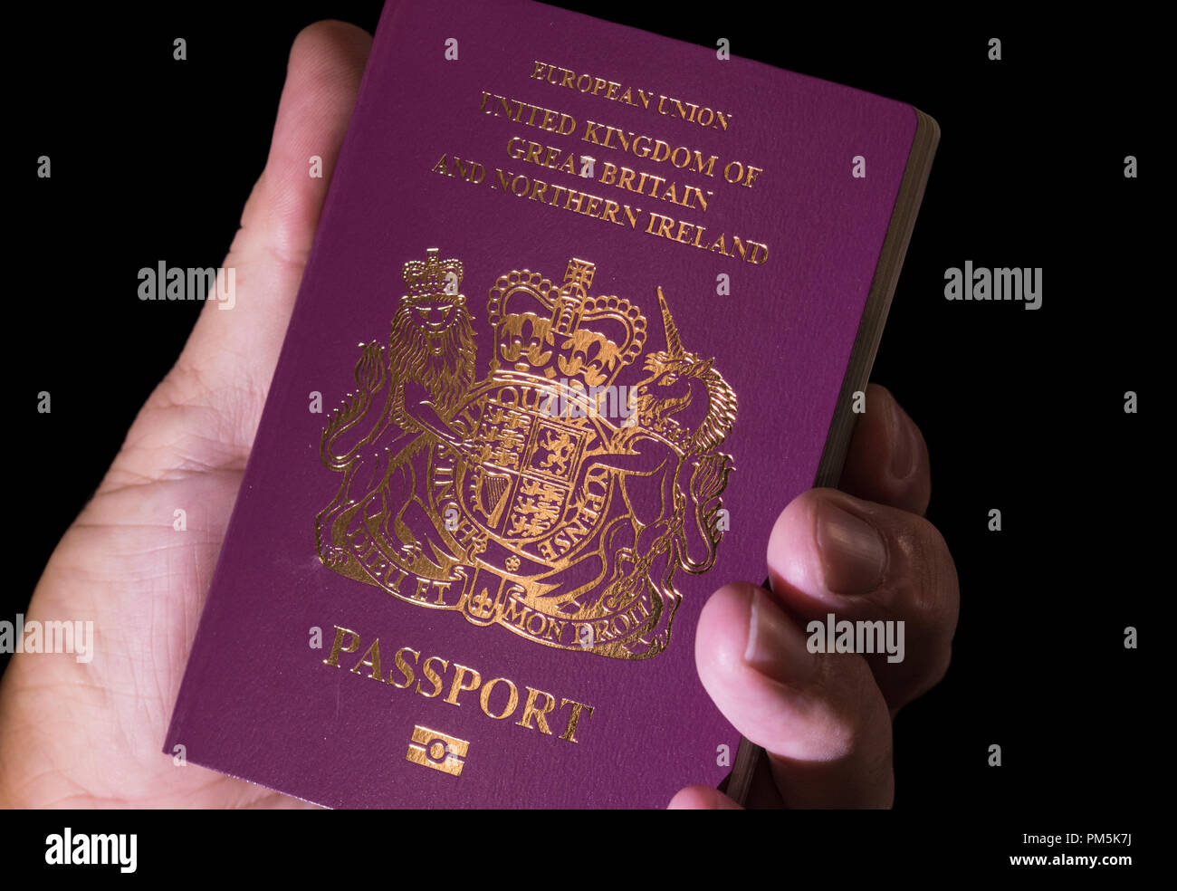 Hand Holding A Red European Union United Kingdom Passport In 2018