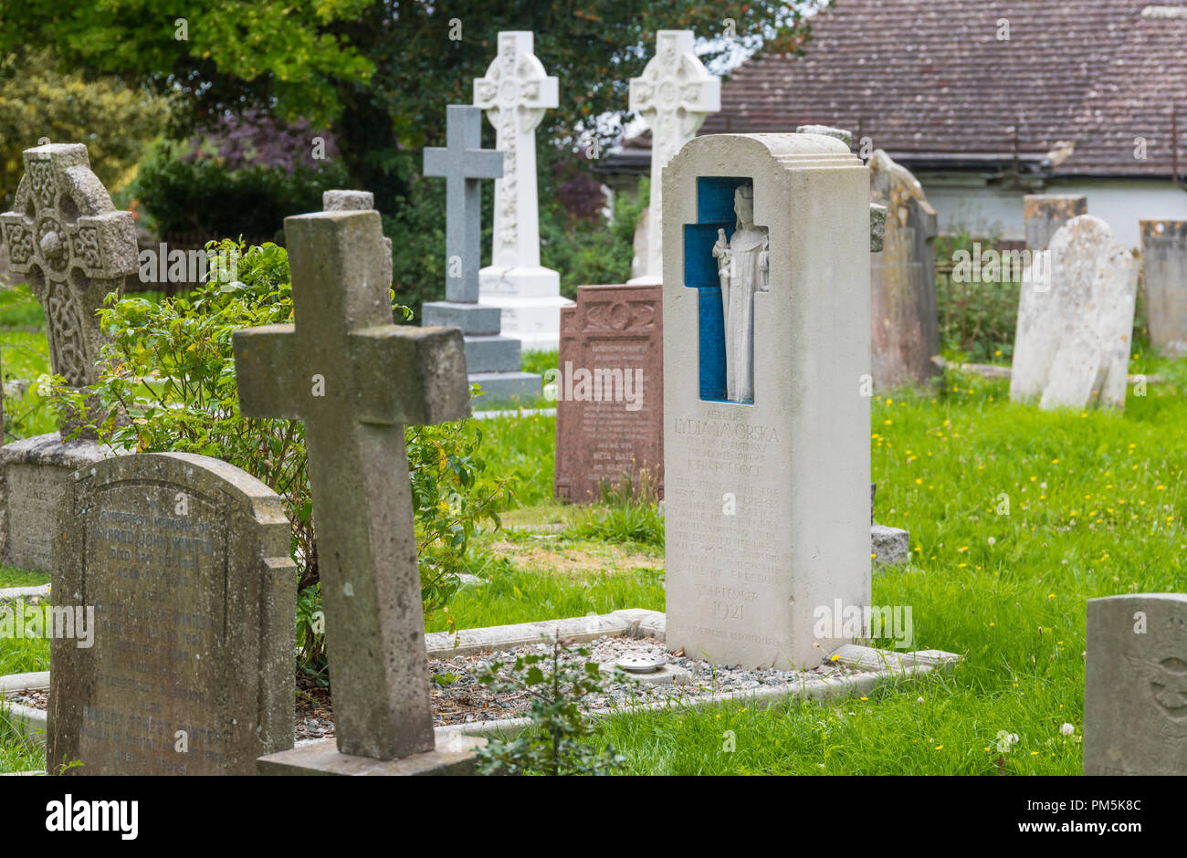 Tombstone at the grave of Russian Princess Bariatinsky, Lydia Yavorska, buried at St Nicolas Church churchyard in Old Shoreham, West Sussex, UK. - Stock Image