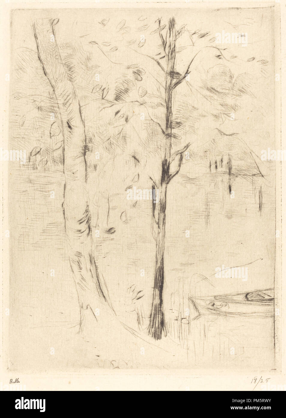 Lake with Rowboat. Dated: 1888/1890. Medium: drypoint [reprinted by Ambroise Vollard]. Museum: National Gallery of Art, Washington DC. Author: Berthe Morisot. - Stock Image
